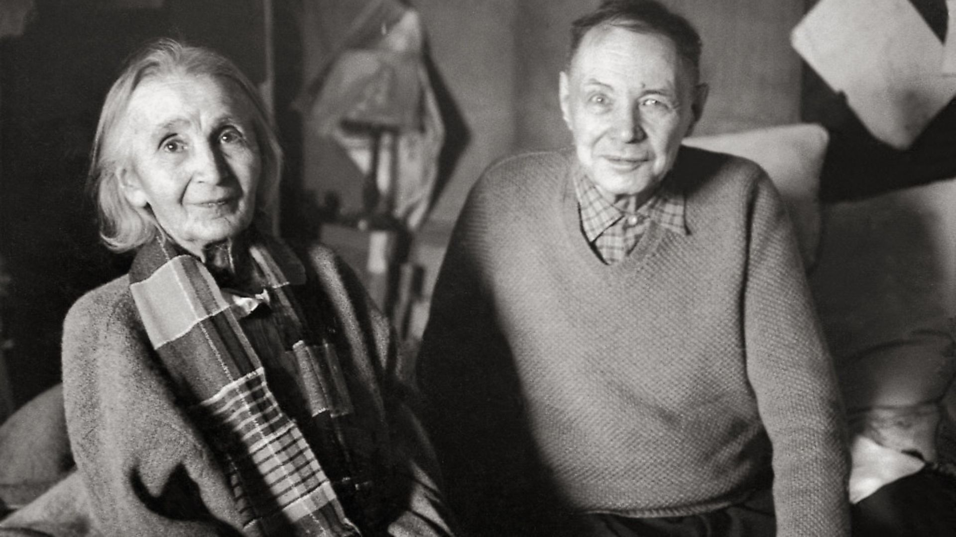 UNSPECIFIED - JANUARY 01:  Painters Mikhail Larionov and Natalya Goncharova. Photography. 1956.  (Photo by Imagno/Getty Images) [Das Malerehepaar Michail Larionow und Natalja Gontscharowa. Photographie, 1956.] - Credit: Getty Images