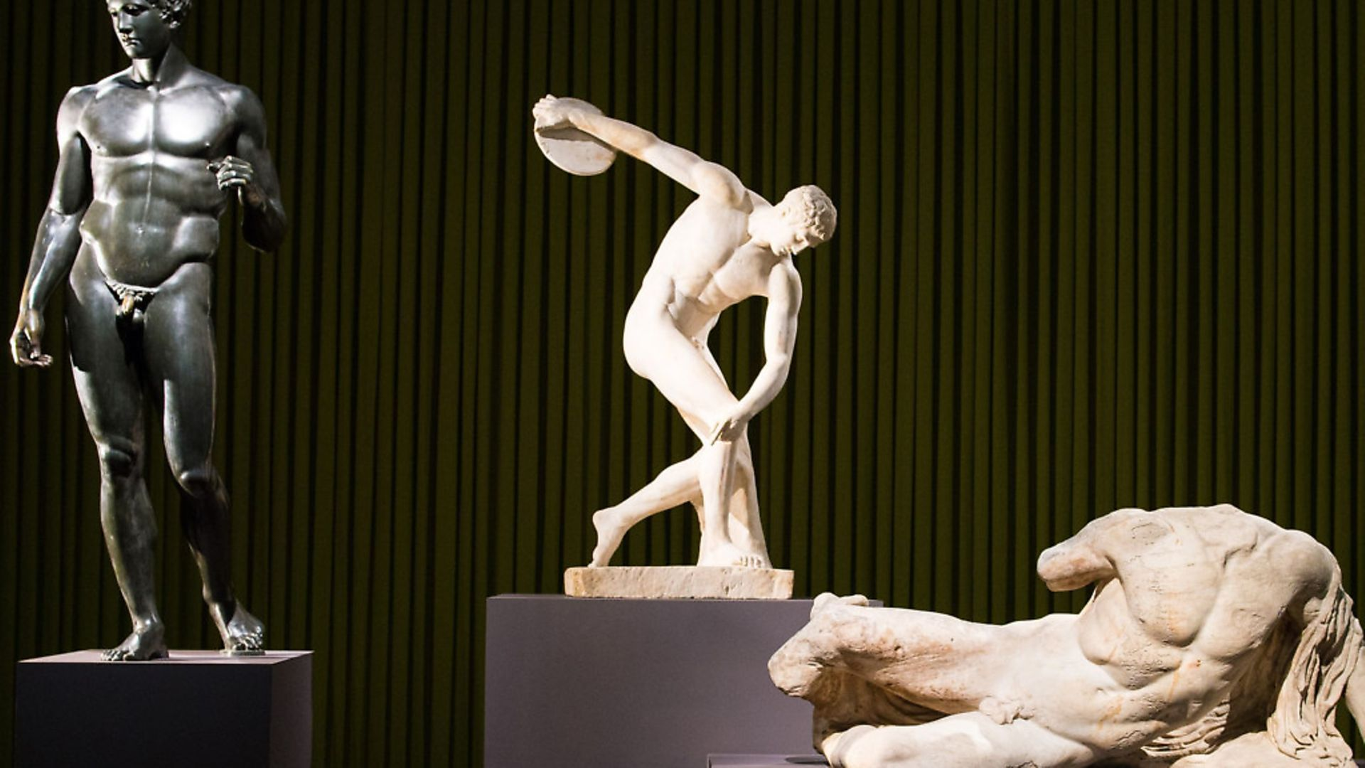Sculptures in the Ancient Greek Art exhibition at the British Museum including 'Discobolus' (Discus Thrower). Sophia Deboick explores how music as we know it began in 440 BC. Picture:  Dominic Lipinski/PA Archive/PA Images - Credit: PA Archive/PA Images