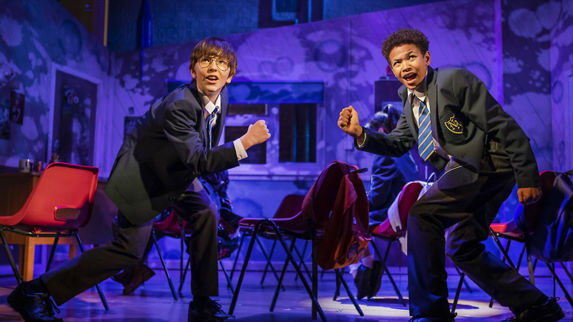 Top of the class: Michael hawkins as Adrian and Cuba Kamanu as Nigel in Adrian Mole the Musical, Aged 13 3/4 - Credit: Archant