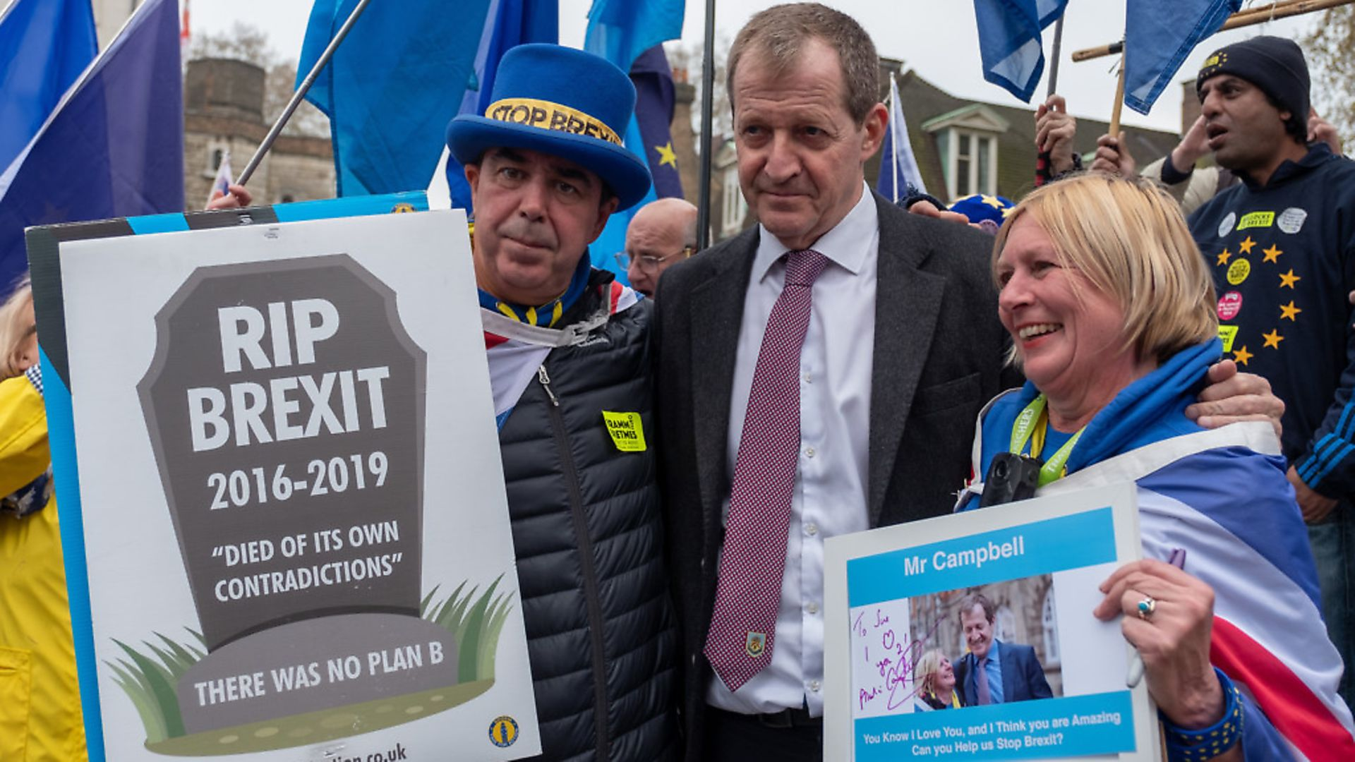 Anti-Brexit campaigners Steve Bray (L) and Alastair Campbell (C) pose outside the Houses of Parliament in London, England, on April 8, 2019.  (Photo by Robin Pope/NurPhoto via Getty Images) - Credit: NurPhoto via Getty Images