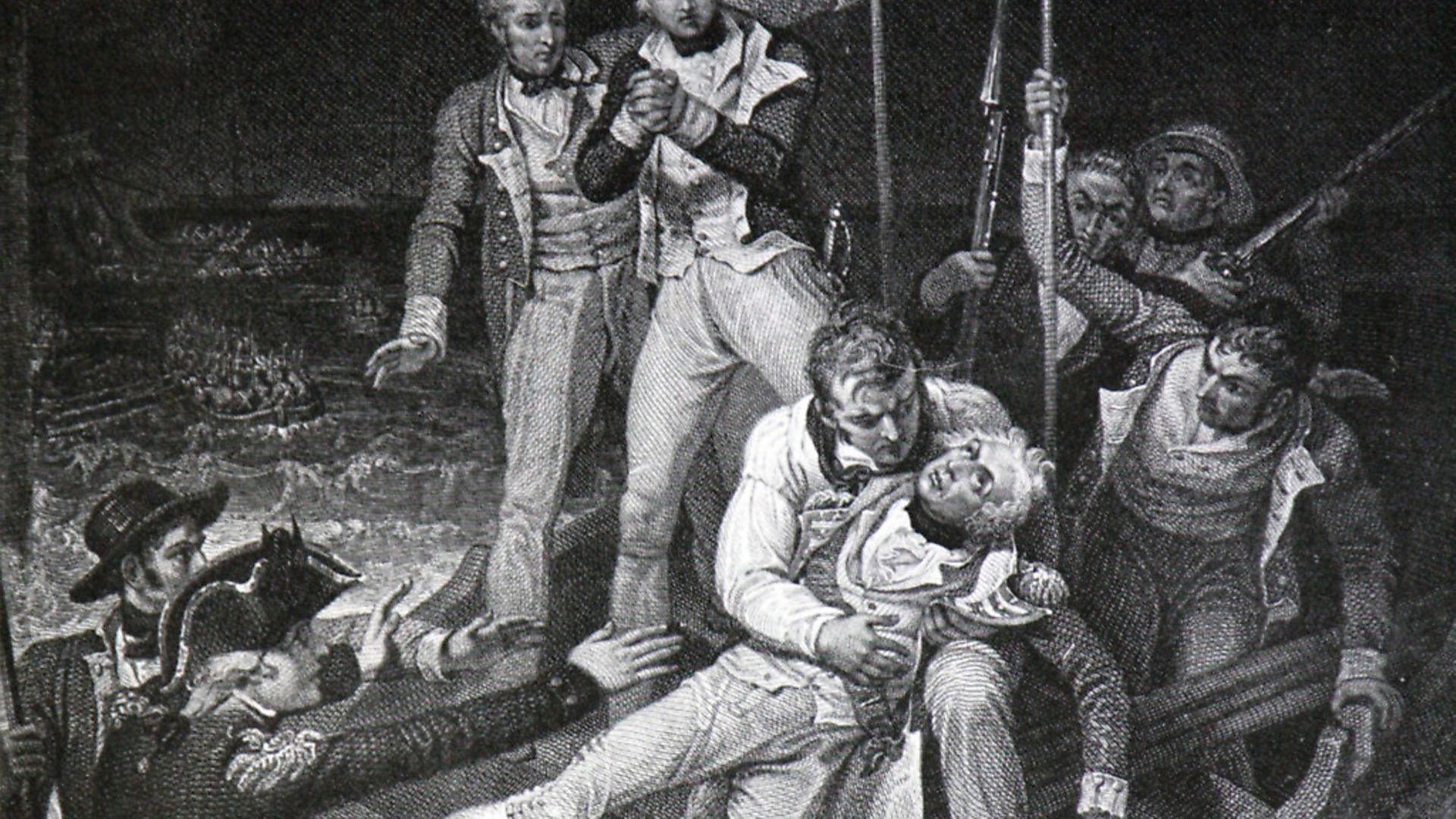 Nelson wounded at Tenerife, 24 July 1797. Engraving by J Neagle. A shot in the right elbow during the unsuccessful attack on Tenerife caused the amputation of Nelson's arm.. (Photo by Universal History Archive/Universal Images Group via Getty Images) - Credit: Universal Images Group via Getty