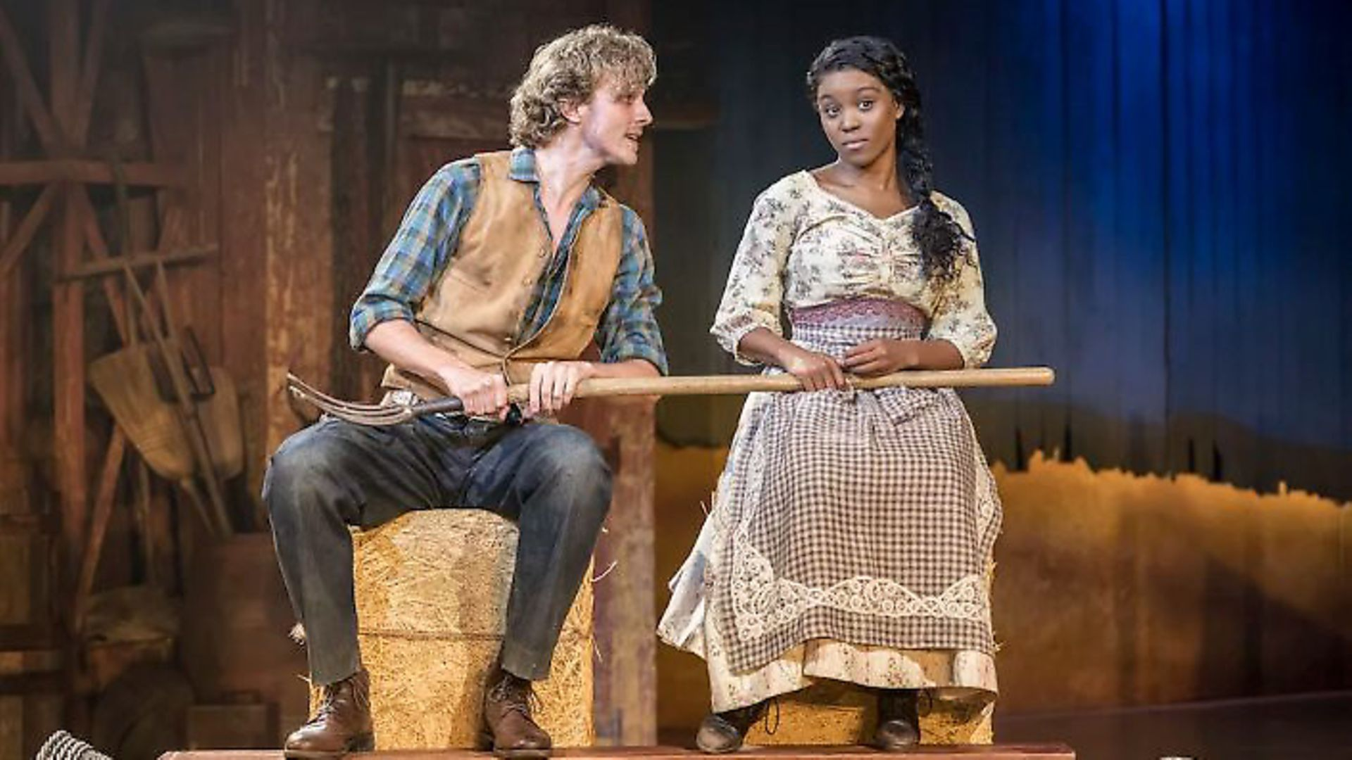Hyoie O'Grady as Curly and Amara Okereke as Laurey in Oklahoma! at Chichester Festival Theatre. Picture: Johan Persson - Credit: Archant