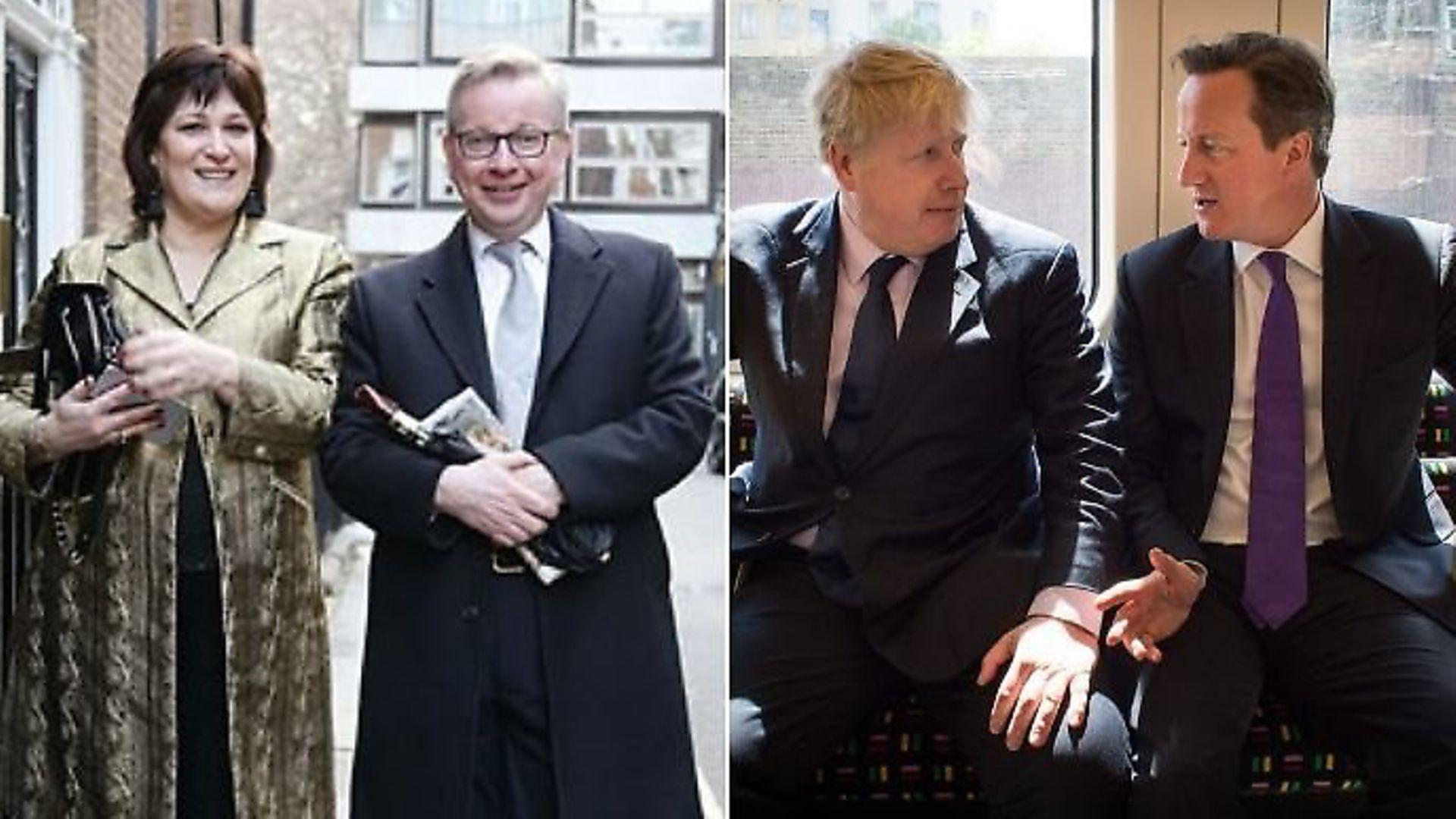 Sarah Vine, Michael Gove, Boris Johnson and David Cameron. Photographs: PA. - Credit: Archant