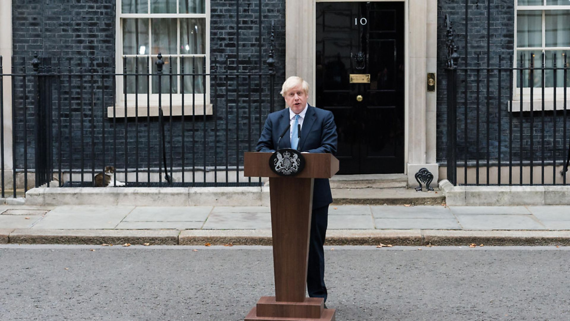 LONDON, UNITED KINGDOM - SEP 02:  British Prime Minister Boris Johnson makes a statement to the media outside 10 Downing Street on 02 September 2019 in London, England. Boris Johnson has reiterated his aim to leave the EU with a negotiated deal on 31 October 2019 amid speculations that a general election could be called should the MPs legislate against no-deal Brexit when Parliament returns tomorrow. (Photo credit should read Wiktor Szymanowicz / Barcroft Media via Getty Images) - Credit: Barcroft Media via Getty Images