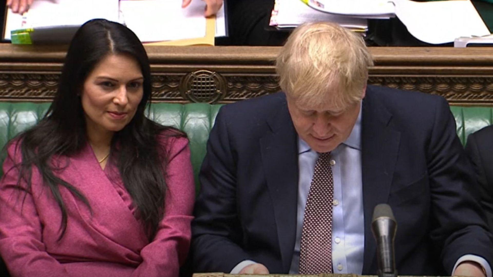 Home secretary Priti Patel and prime minister Boris Johnson - Credit: Parliament Live