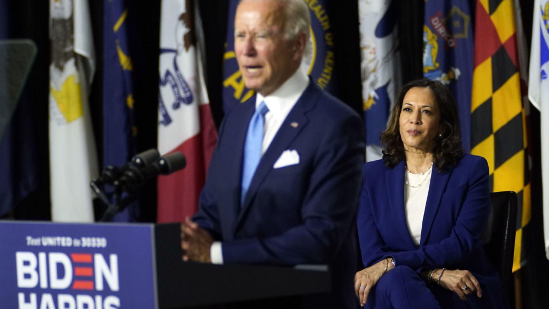 Joe Biden speaks during a campaign event with Kamala Harris - Credit: AP