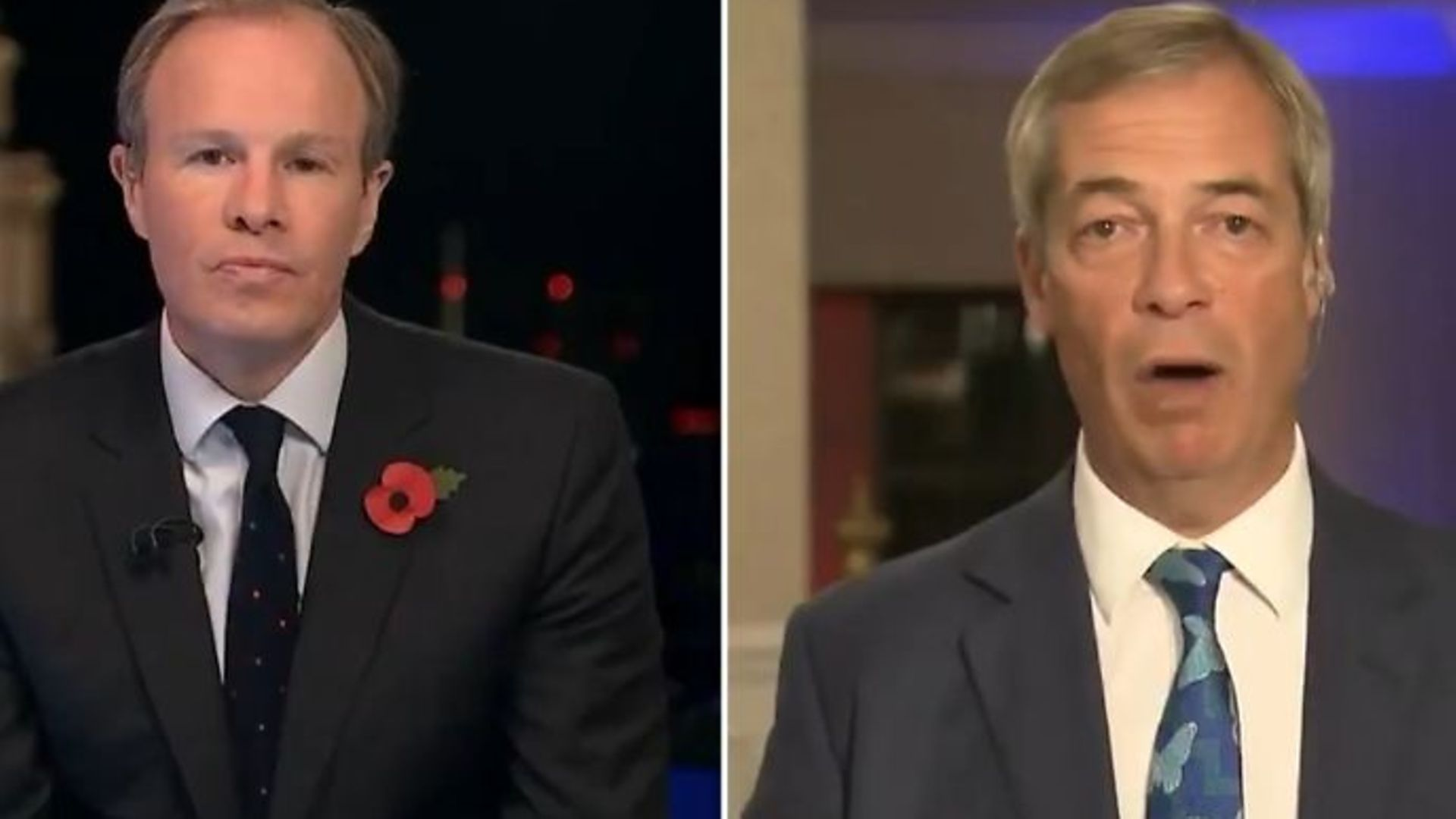ITV's Tom Bradby (L) and Nigel Farage during an interview - Credit: Twitter