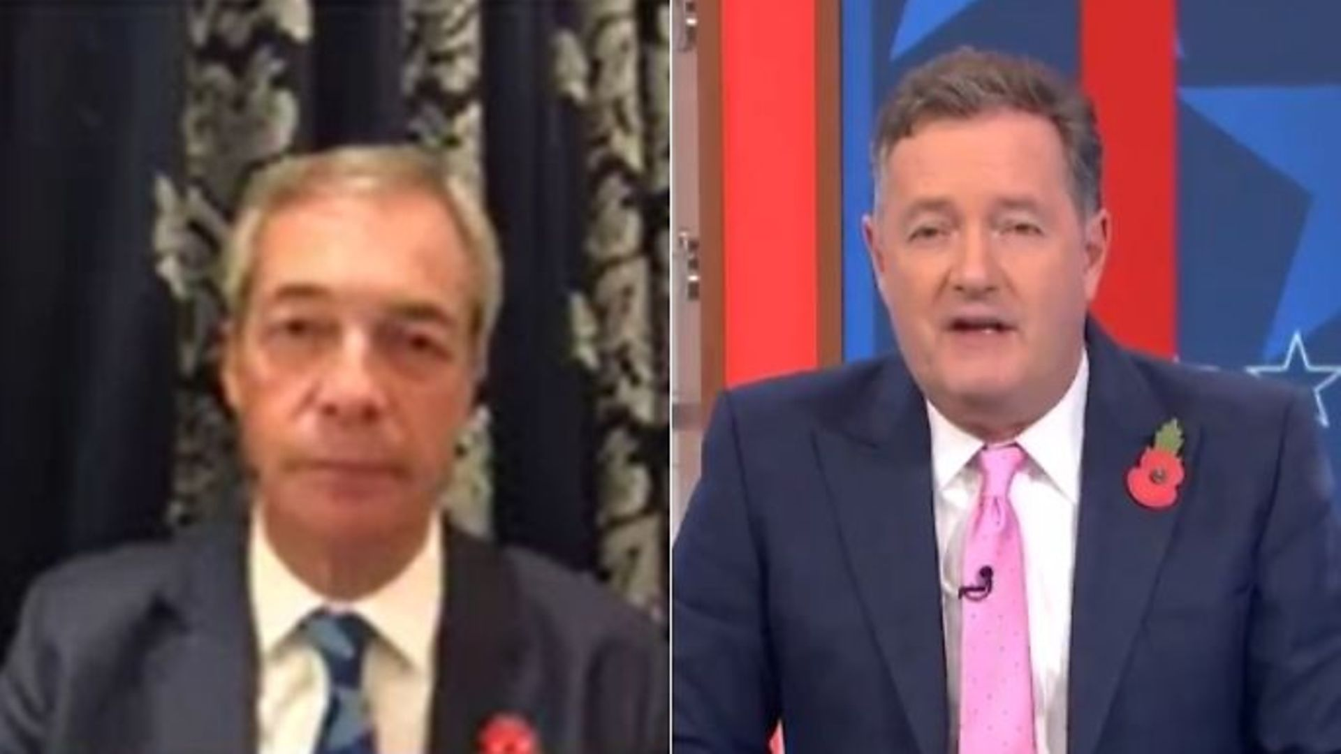 Nigel Farage (L) and Piers Morgan on Good Morning Britain - Credit: Twitter
