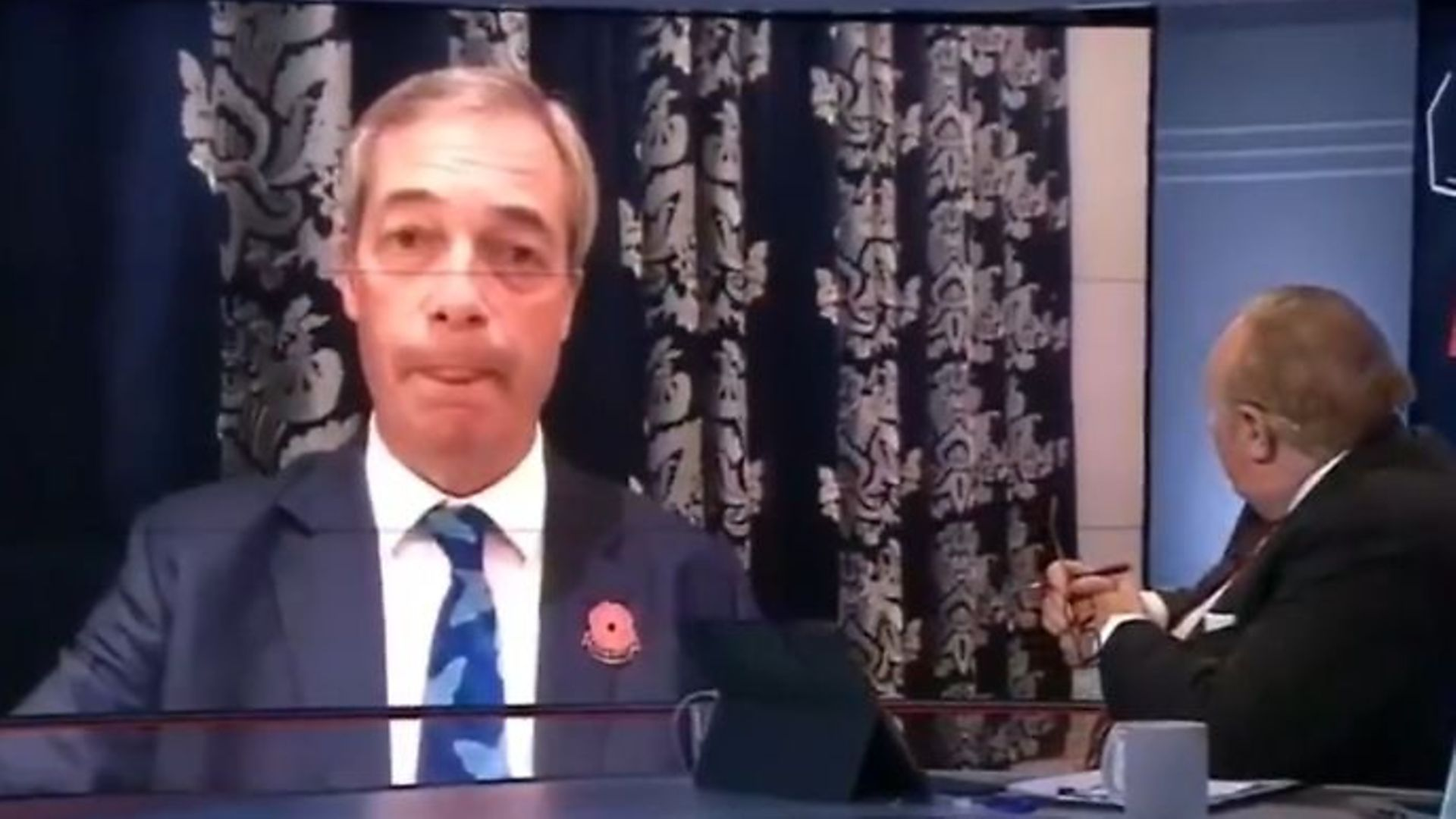 Brexit Party leader Nigel Farage on BBC News - Credit: Twitter