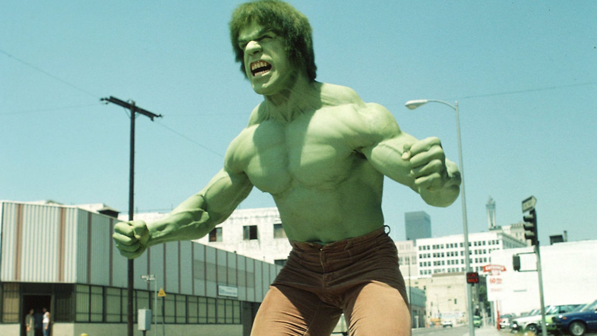 """LOS ANGELES - JANUARY 16: THE INCREDIBLE HULK cast member Lou Ferrigno as the 'Hulk'.  Episode 62: """"Fast Lane""""  Original Airdate: January 16, 1981.  (Photo by CBS via Getty Images) - Credit: CBS via Getty Images"""