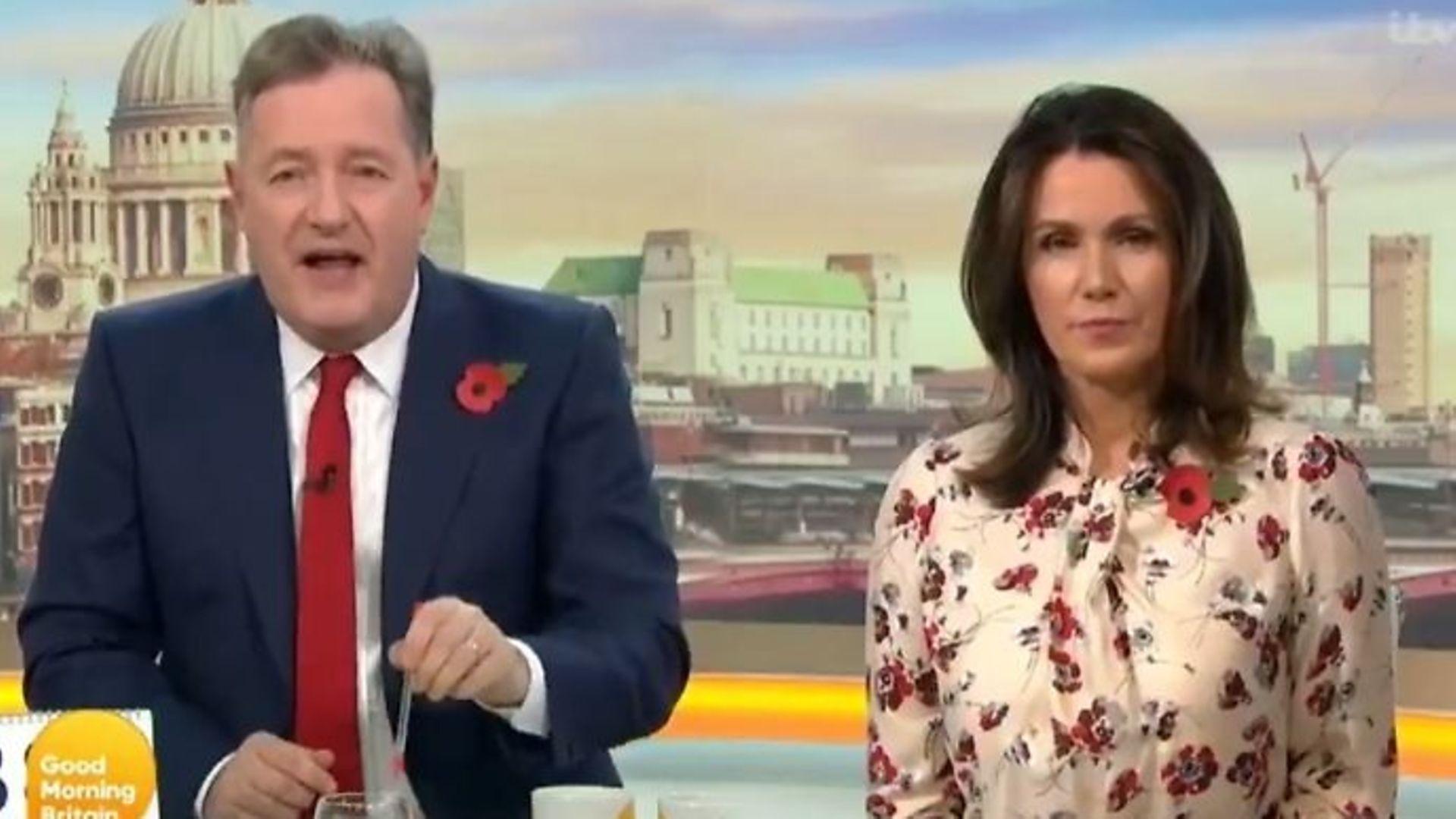 Good Morning Britain presenters Piers Morgan (L) and Susanna Reid - Credit: Twitter`