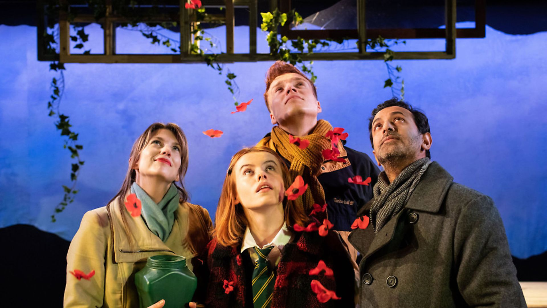 (Left to right) Claire Goose (Thea) Will Fletcher (Lenny) Rosie Day (Billie) Navin Chowdhry (Gil). The Girl Who Fell. Photo: Helen Maybanks - Credit: Helen Maybanks