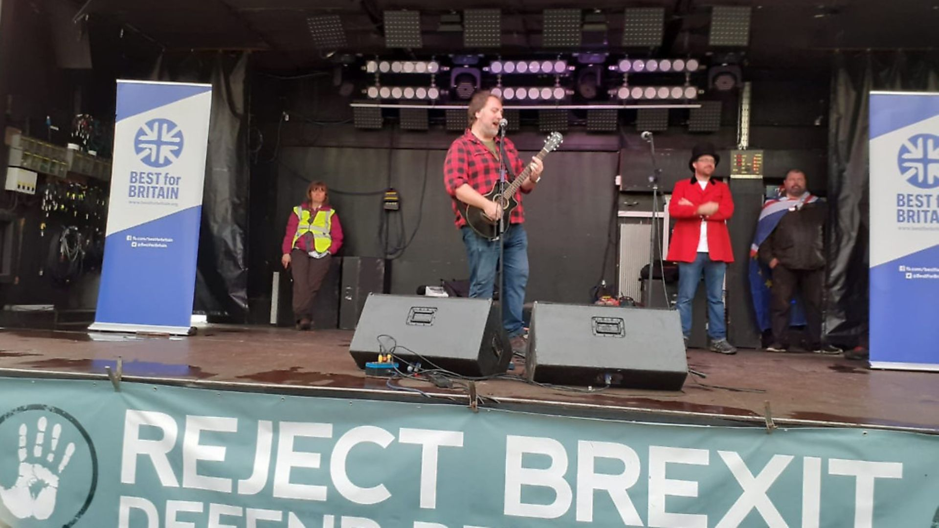 Mitch Benn performing at a People's Vote march. Picture: Twitter - Credit: Archant