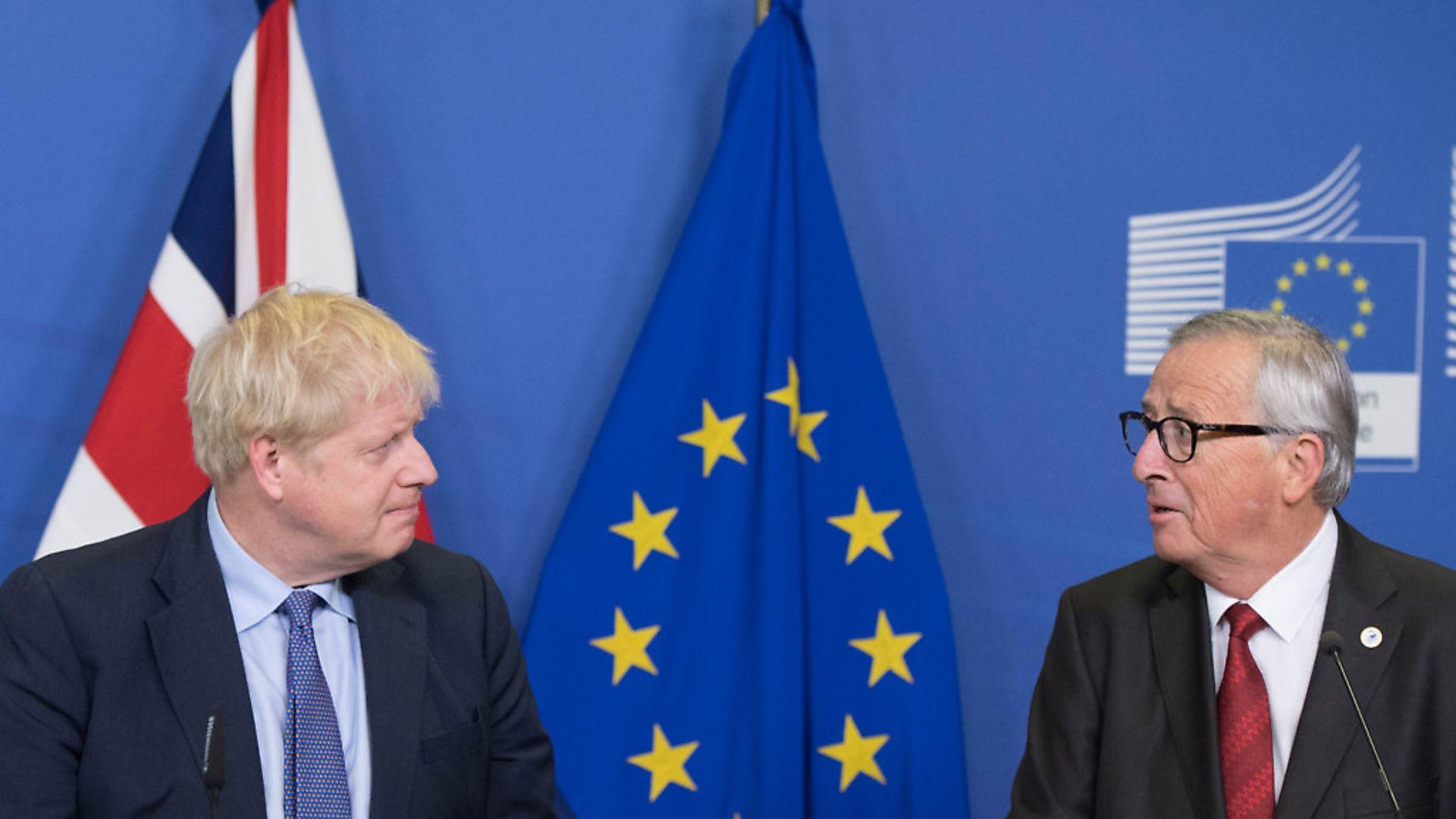 UK Prime Minister Boris Johnson (left) and Jean-Claude Juncker. Photograph: Stefan Rousseau/PA Wire. - Credit: PA