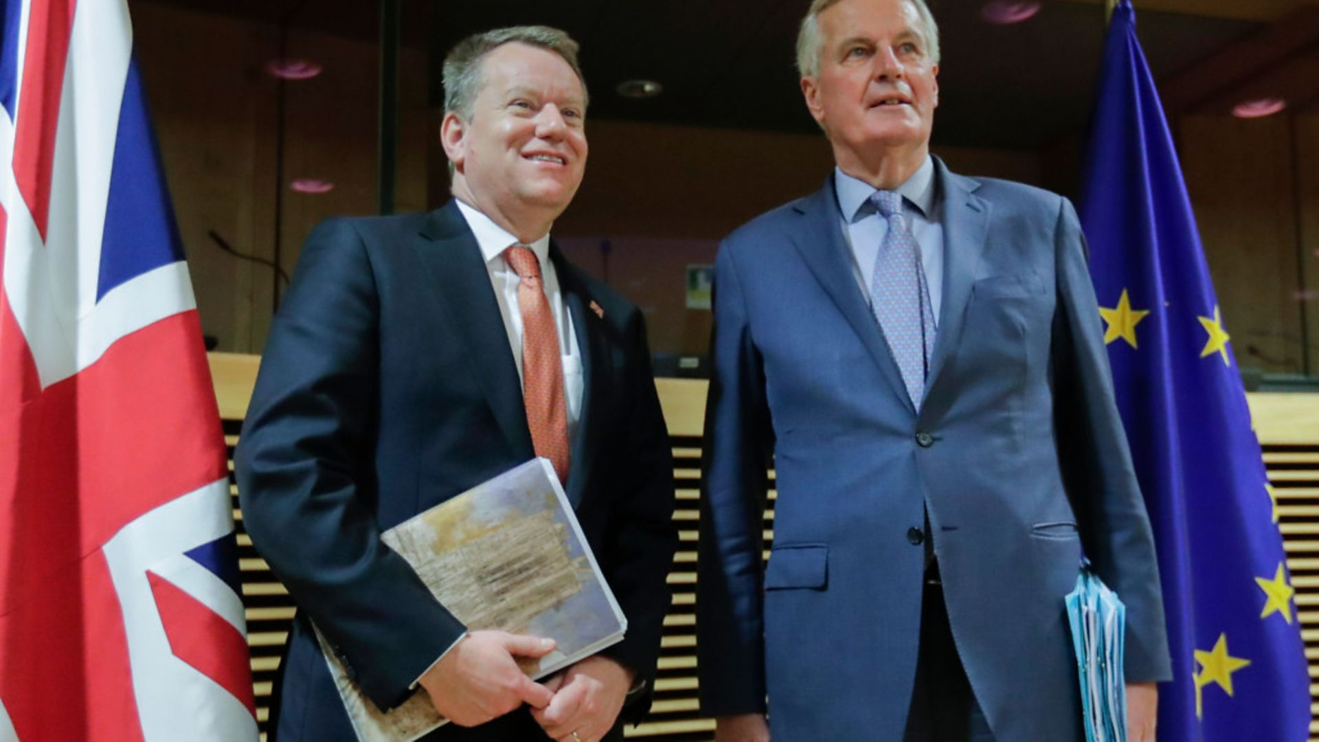 European Union chief Brexit negotiator Michel Barnier and David Frost - Credit: POOL/AFP via Getty Images