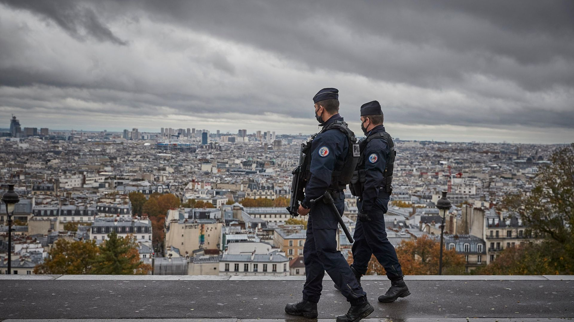 Armed French Police patrol in Paris on All Saints Day - Credit: Getty Images