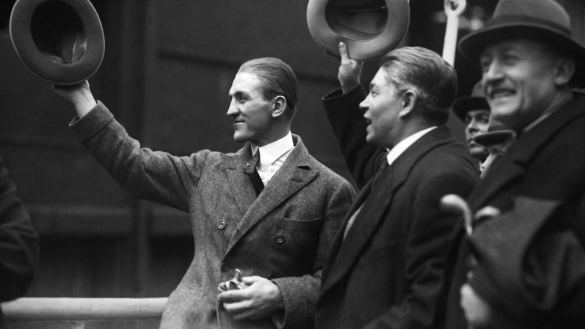Georges Carpentier and his manager Francis Descamps greeting the crowd on their arrival on the liner 'La Savoie' in the port of New York City, United States. (Photo by KEYSTONE-FRANCE/Gamma-Rapho via Getty Images) - Credit: Gamma-Keystone via Getty Images