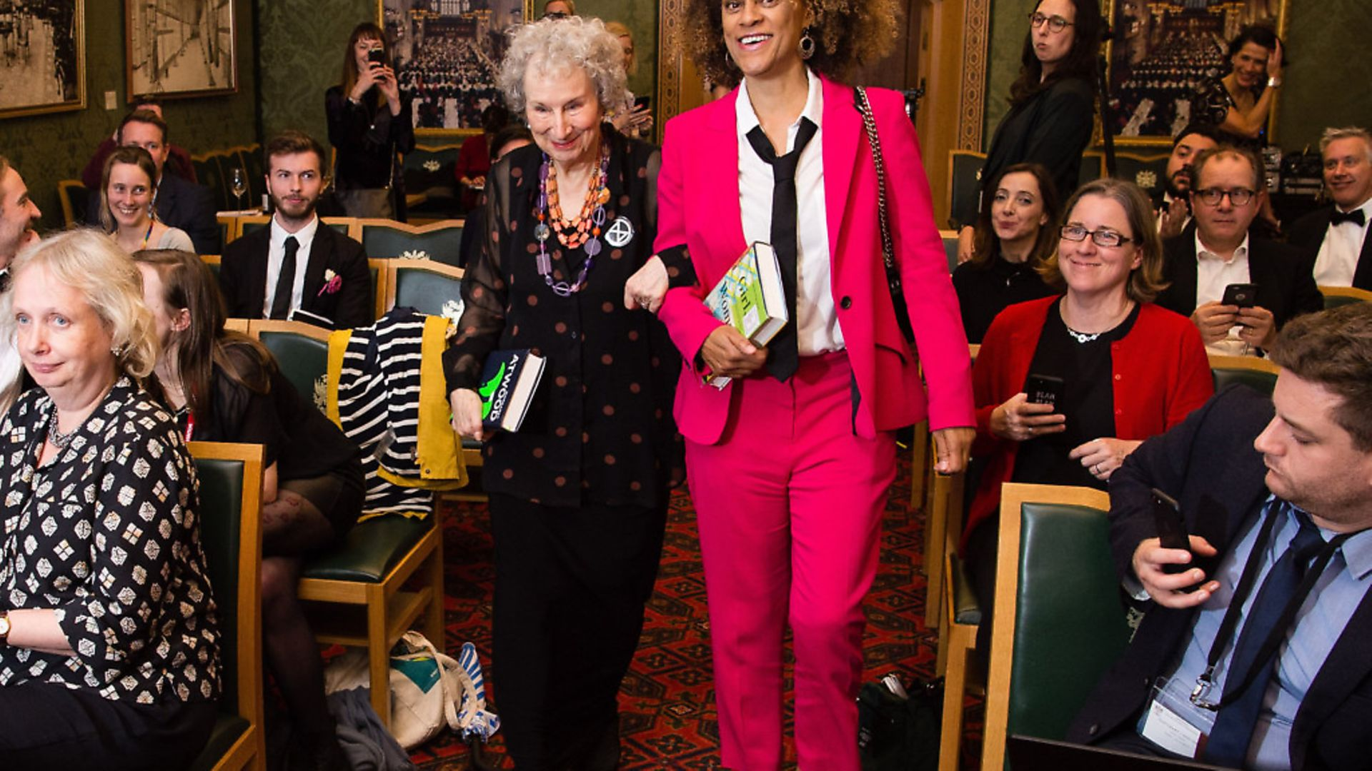 Joint winners Margaret Atwood and Bernardine Evaristo during 2019 Booker Prize Winner Announcement . (Photo by Jeff Spicer/Getty Images) - Credit: Getty Images
