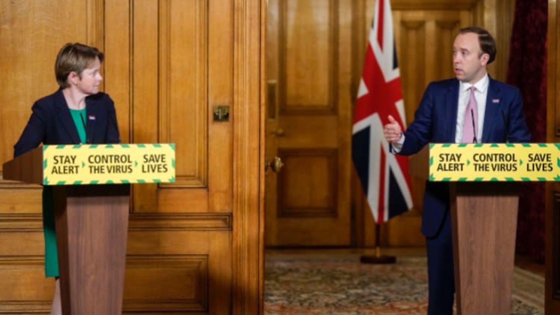 Dido Harding and Matt Hancock at a Number 10 press conference - Credit: Downing Street/PA