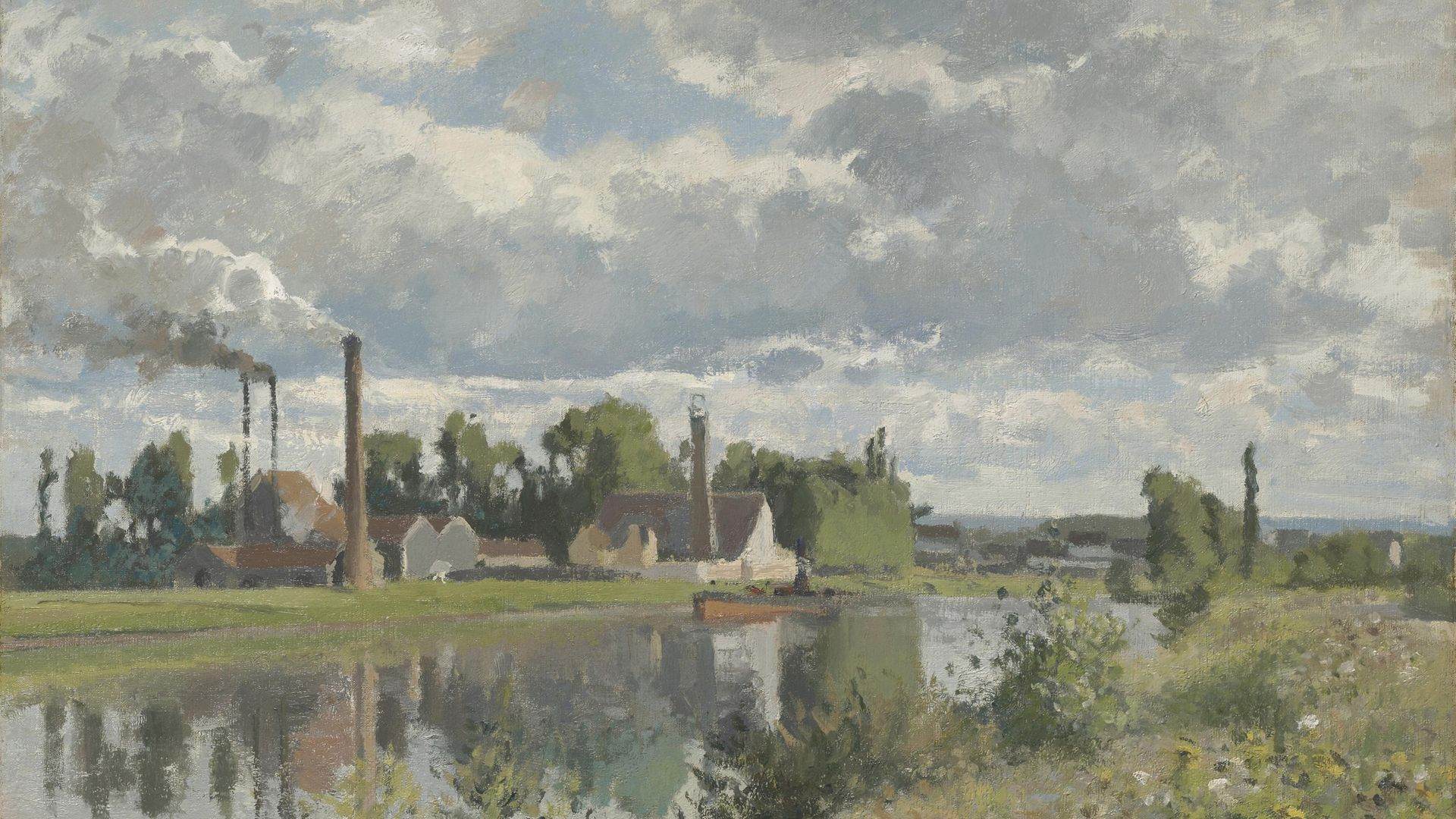 A painting of the River Oise near Pontoise, 1873, by Camille Pissarro. Robert Louis Stevenson passed along here on his canoeing trip - Credit: Sepia Times/Universal Images Gro
