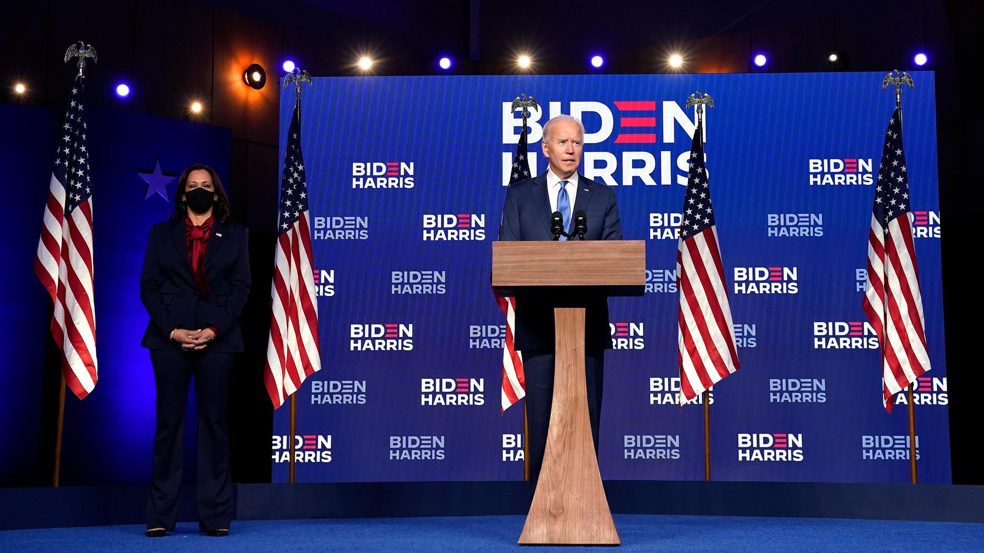 America's next president Joe Biden with vice president Sen. Kamala Harris - Credit: Getty Images