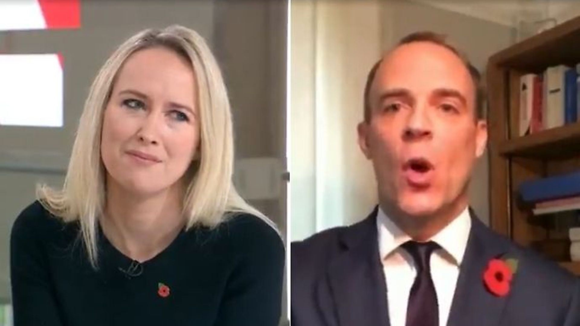 Dominic Raab (right) is interviewed by Sophy Ridge on Sky (left) - Credit: Sky News