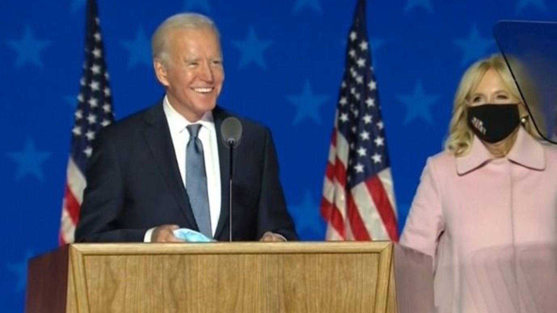 Joe Biden at a rally in Wilmington, Delaware - Credit: BBC