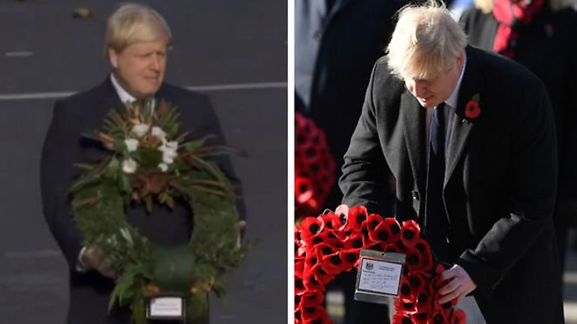 Boris Johnson with his wreath at the cenotaph. Photo: Getty Images and BBC - Credit: Getty Images and BBC