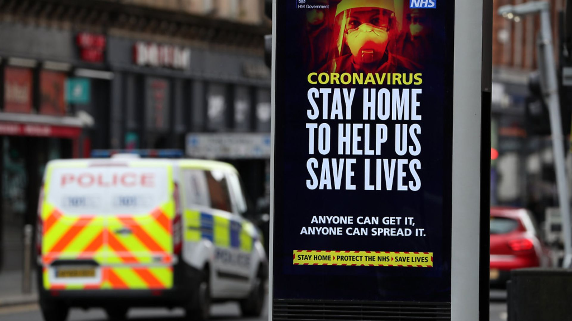Police patrol the streets of Glasgow as the UK continues in lockdown to help curb the spread of the coronavirus. Photograph: Andrew Milligan/PA. - Credit: PA