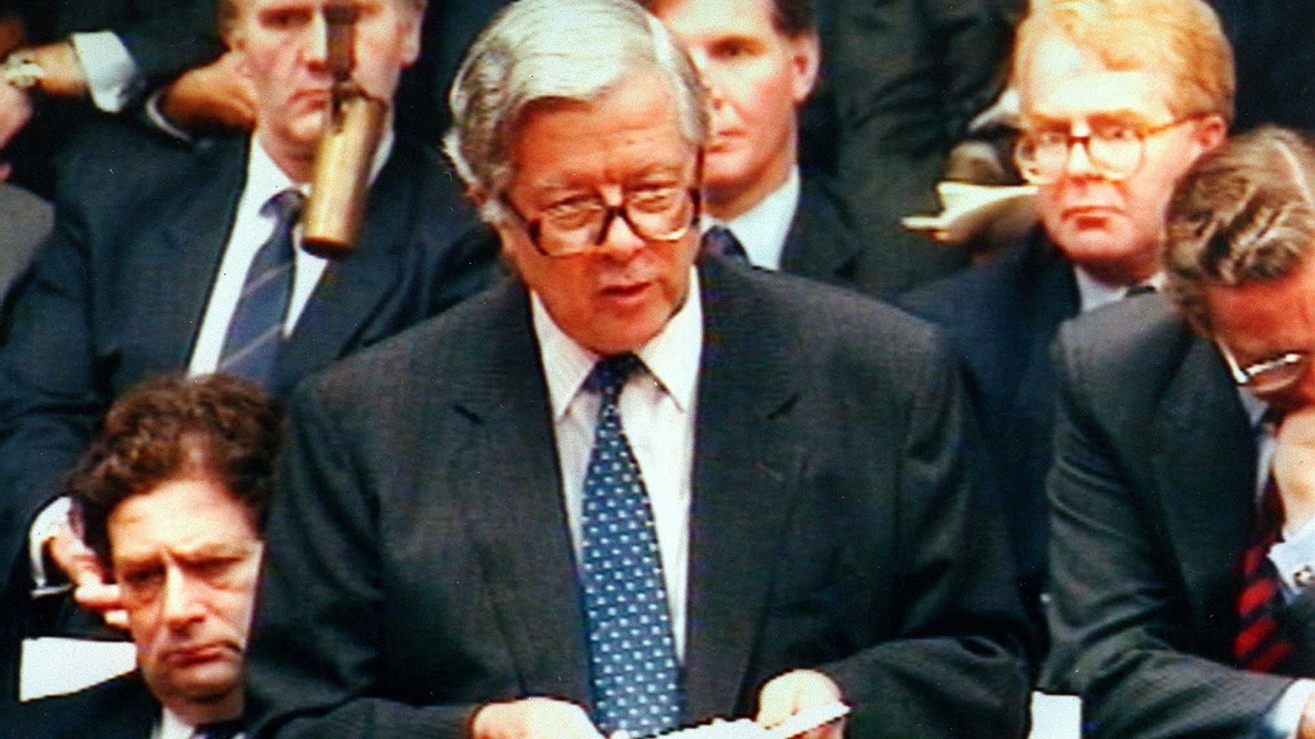 PA Photo 13/11/1990  Sir Geoffrey Howe speaking at the House of Commons in London - Credit: PA