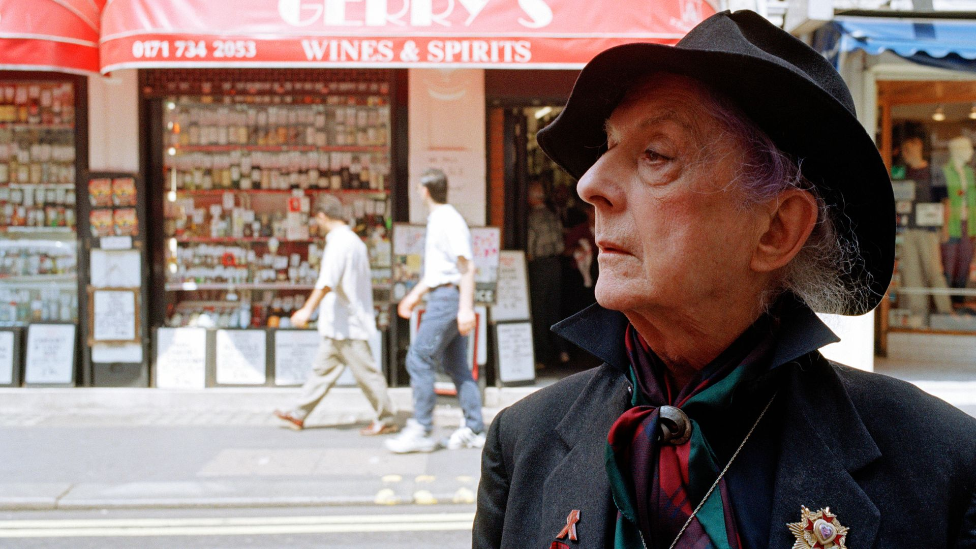 Quentin Crisp on Old Compton Street, London, in 1996 - Credit: Getty Images