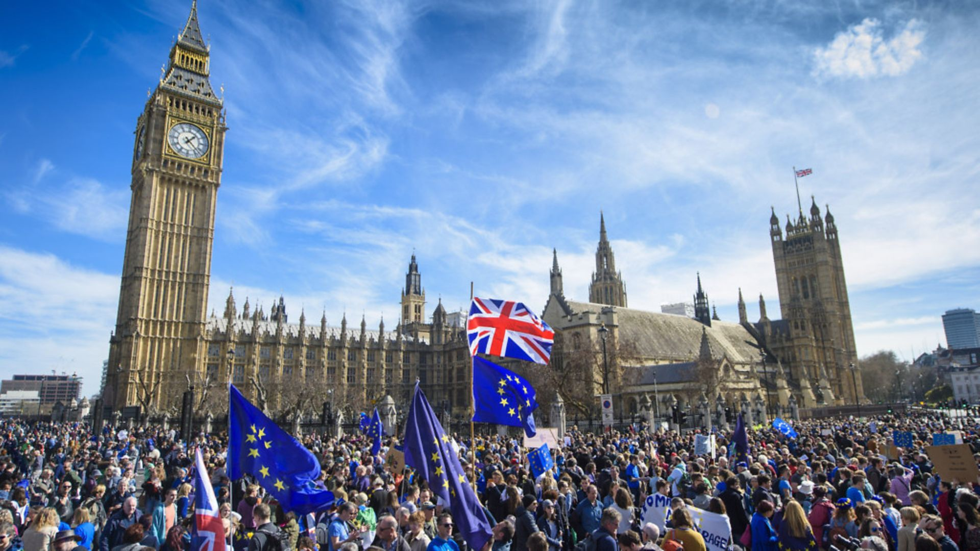 Anti-Brexit campaigners outside the Houses of Parliament - Credit: Empics Entertainment