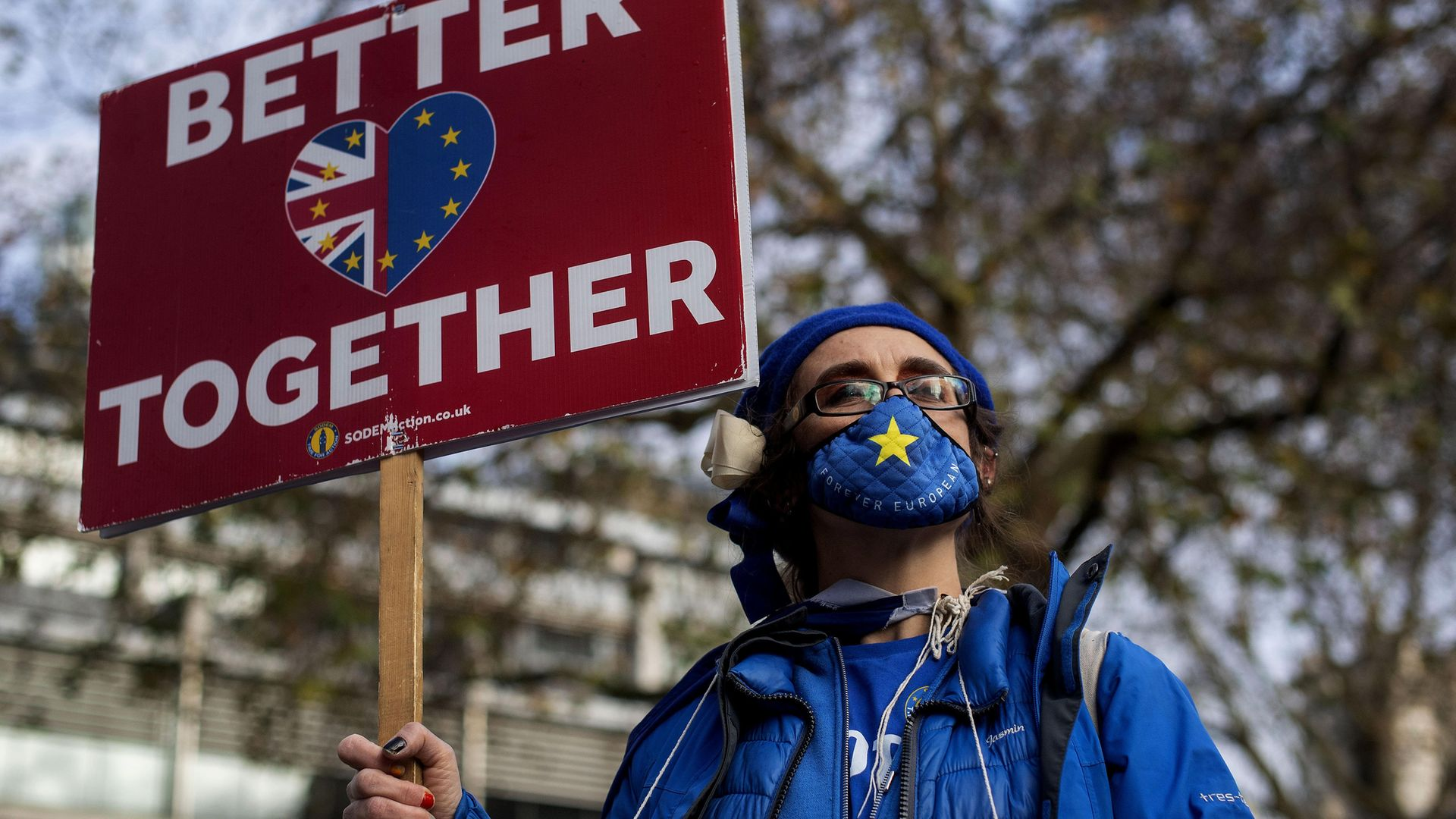 An anti-Brexit demonstrator in Westminster, London. - Credit: PA