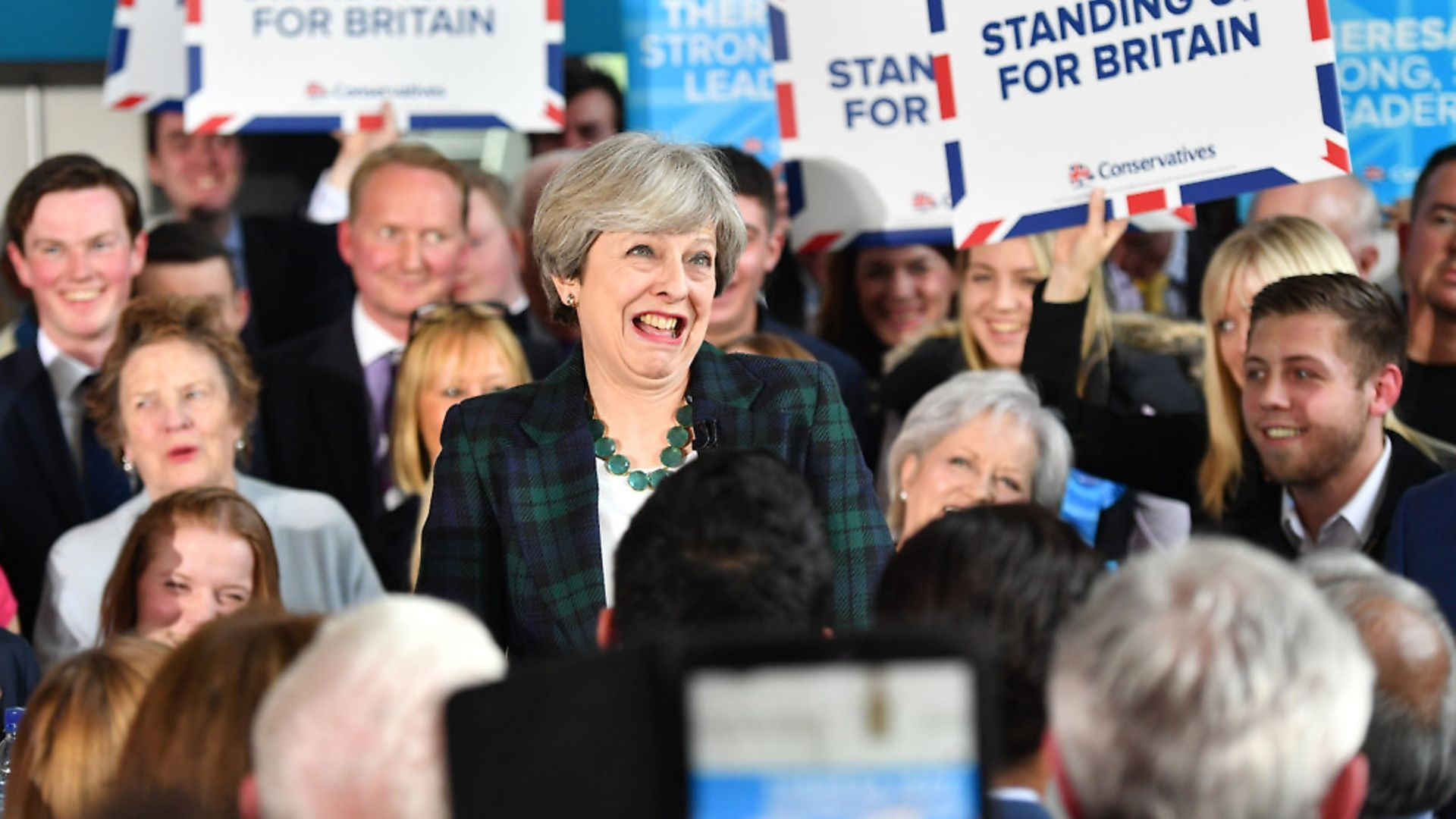 LEEDS, ENGLAND - APRIL 27:  Britain's Prime Minister Theresa May speaks to supporters at a campaign event at Shine Centre on April 27, 2017 in Leeds, United Kingdom. The Prime Minister is campaigning in the seat of Leeds East which has a 12,000 Labour majority before the General Election in June.  (Photo by Anthony Devlin - WPA Pool/Getty Images) - Credit: Getty Images