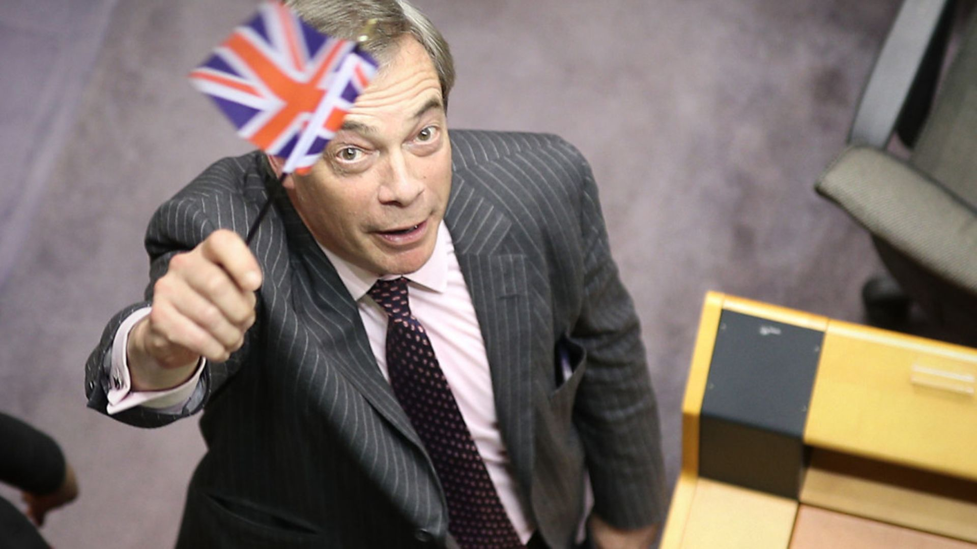 Nigel Farage in the parliament chamber at the European Parliament in Brussels. - Credit: PA
