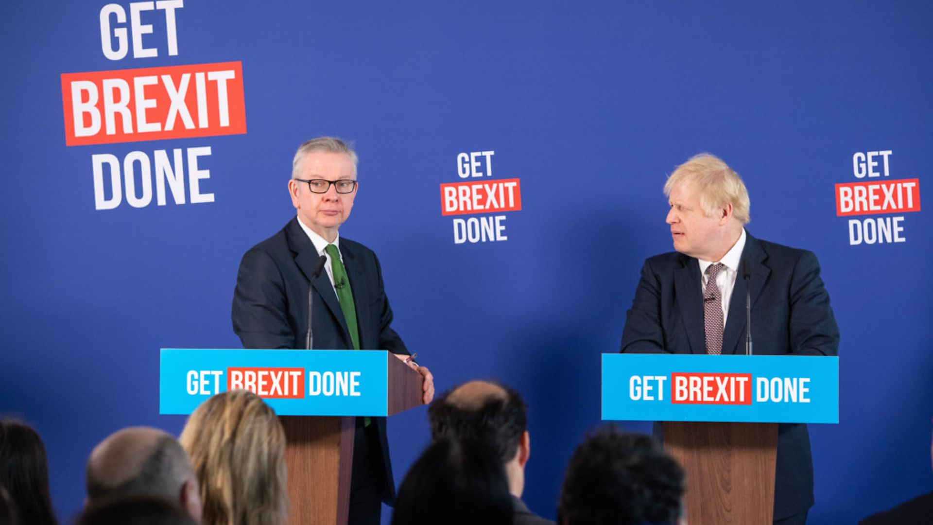 Prime Minister Boris Johnson and Chancellor of the Duchy of Lancaster, Michael Gove (left) speaking at a press conference in Millbank Tower. - Credit: PA