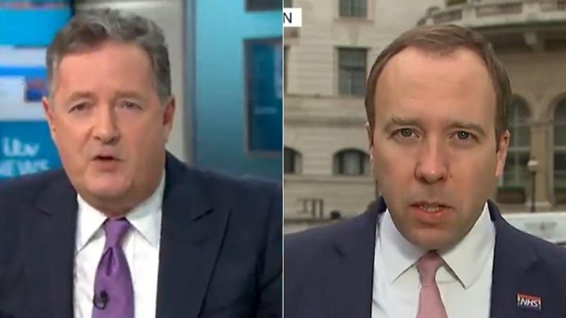 Piers Morgan (L) and health secretary Matt Hancock on Good Morning Britain - Credit: Twitter