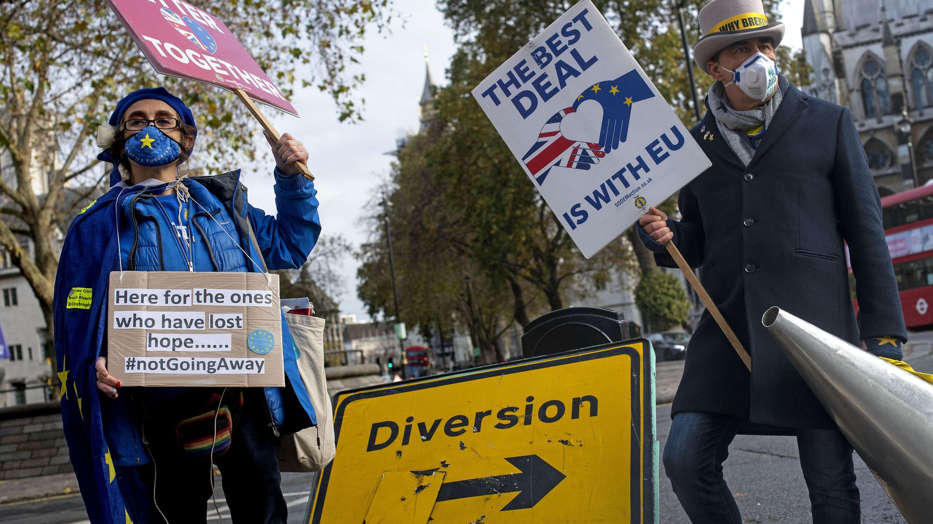 Anti-Brexit demonstrators in Westminster, London. - Credit: PA