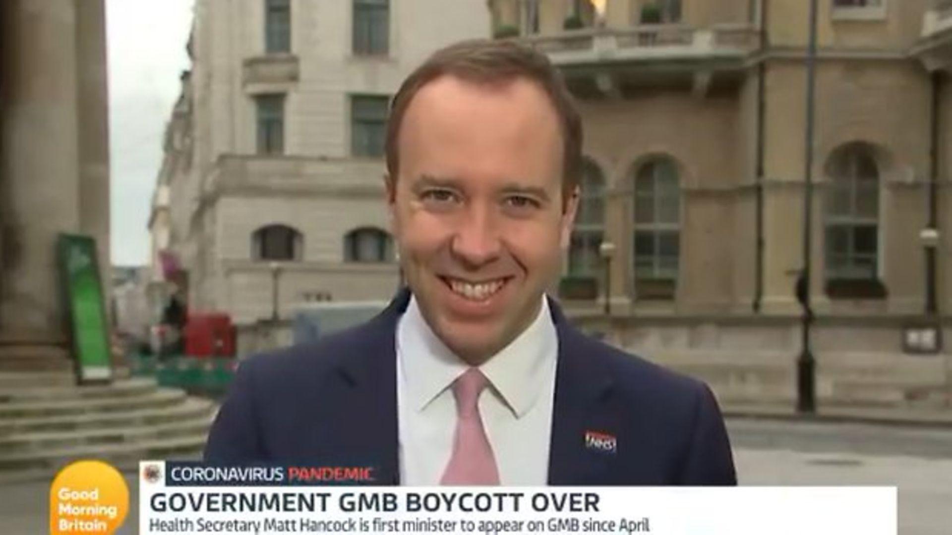 Matt Hancock appears on Good Morning Britain - Credit: ITV