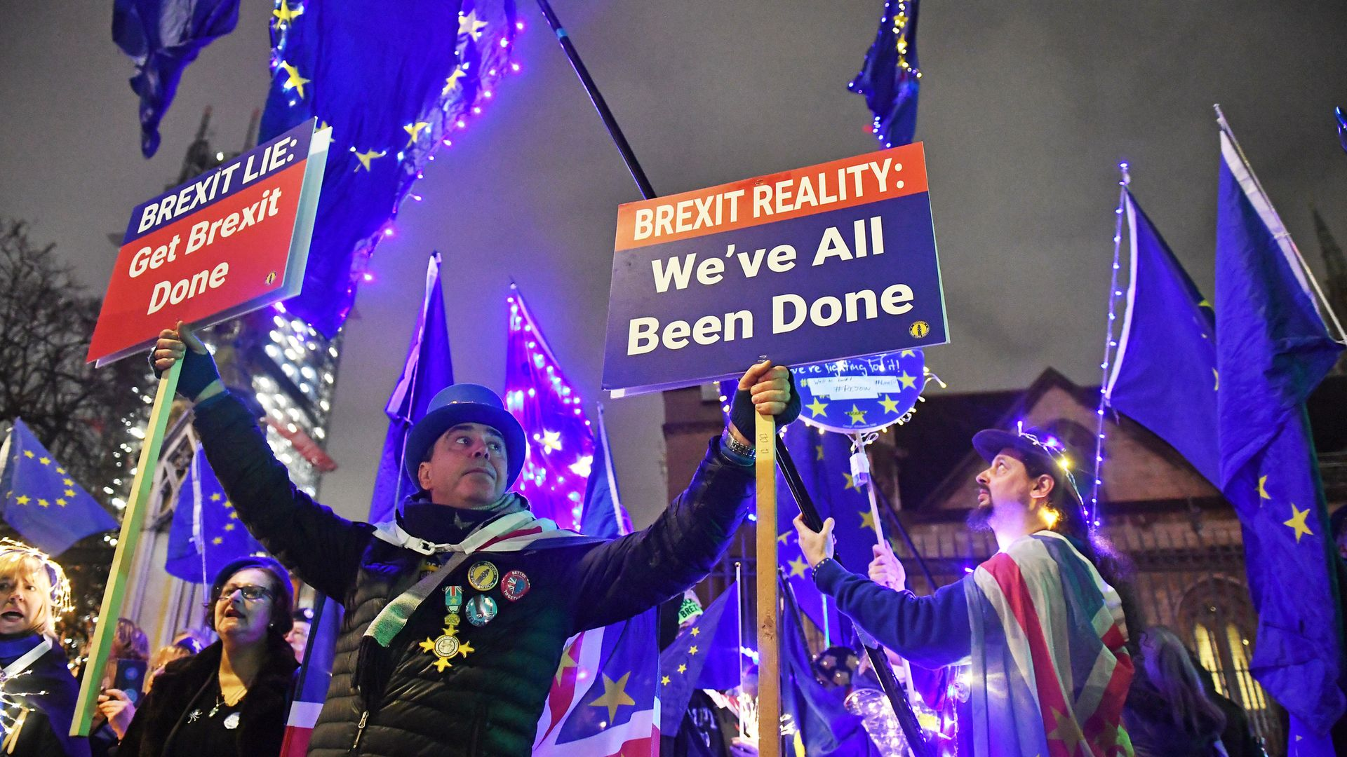 Anti-Brexit protesters outside the Houses of Parliament, Westminster, London. - Credit: PA