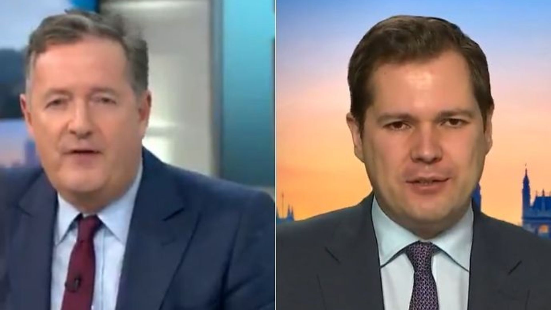 Piers Morgan (L) and cabinet minister Robert Jenrick on GMB - Credit: Twitter