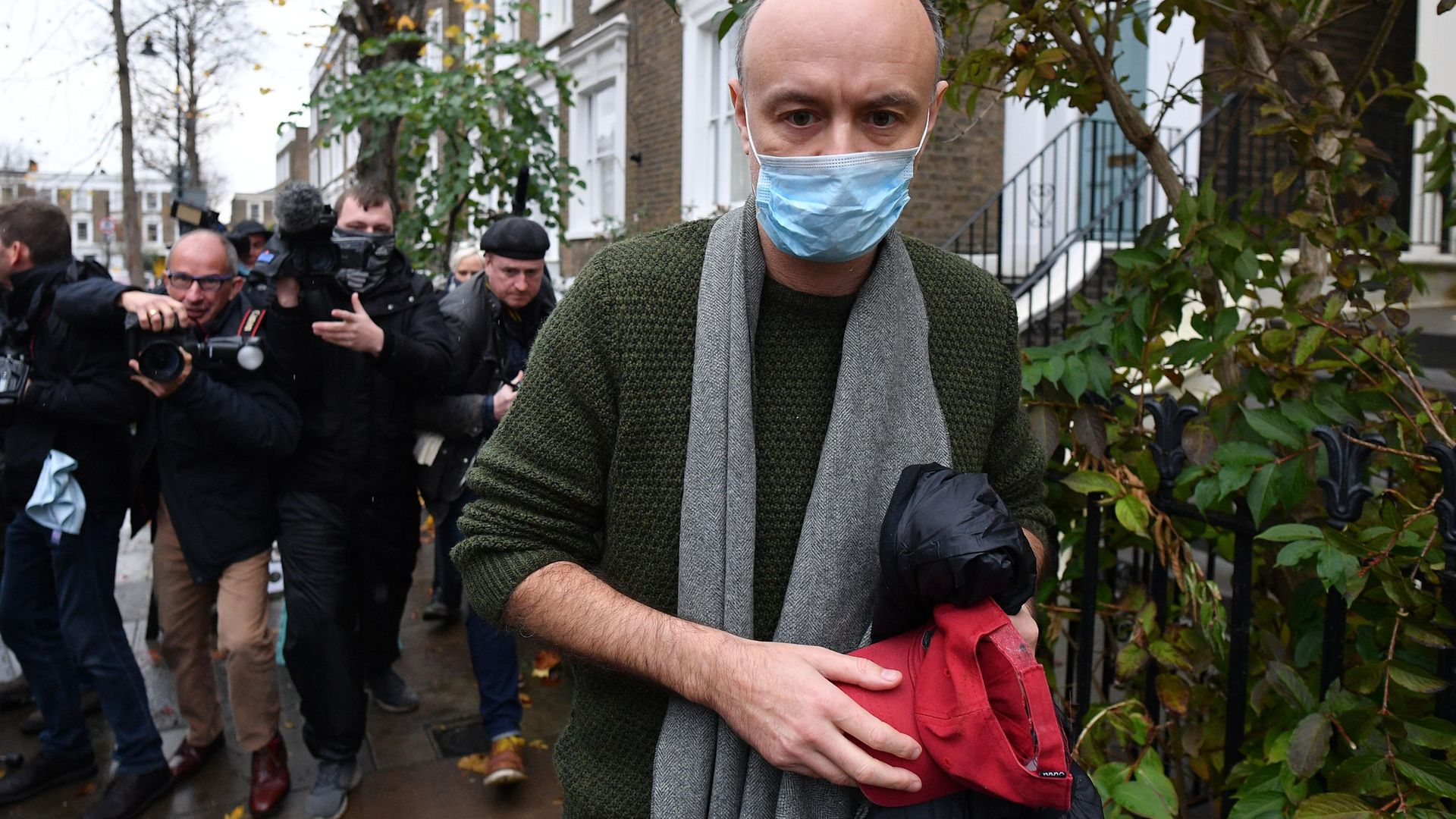 Dominic Cummings, previously Boris Johnson's most senior aide, leaving his residence in London - Credit: AFP via Getty Images