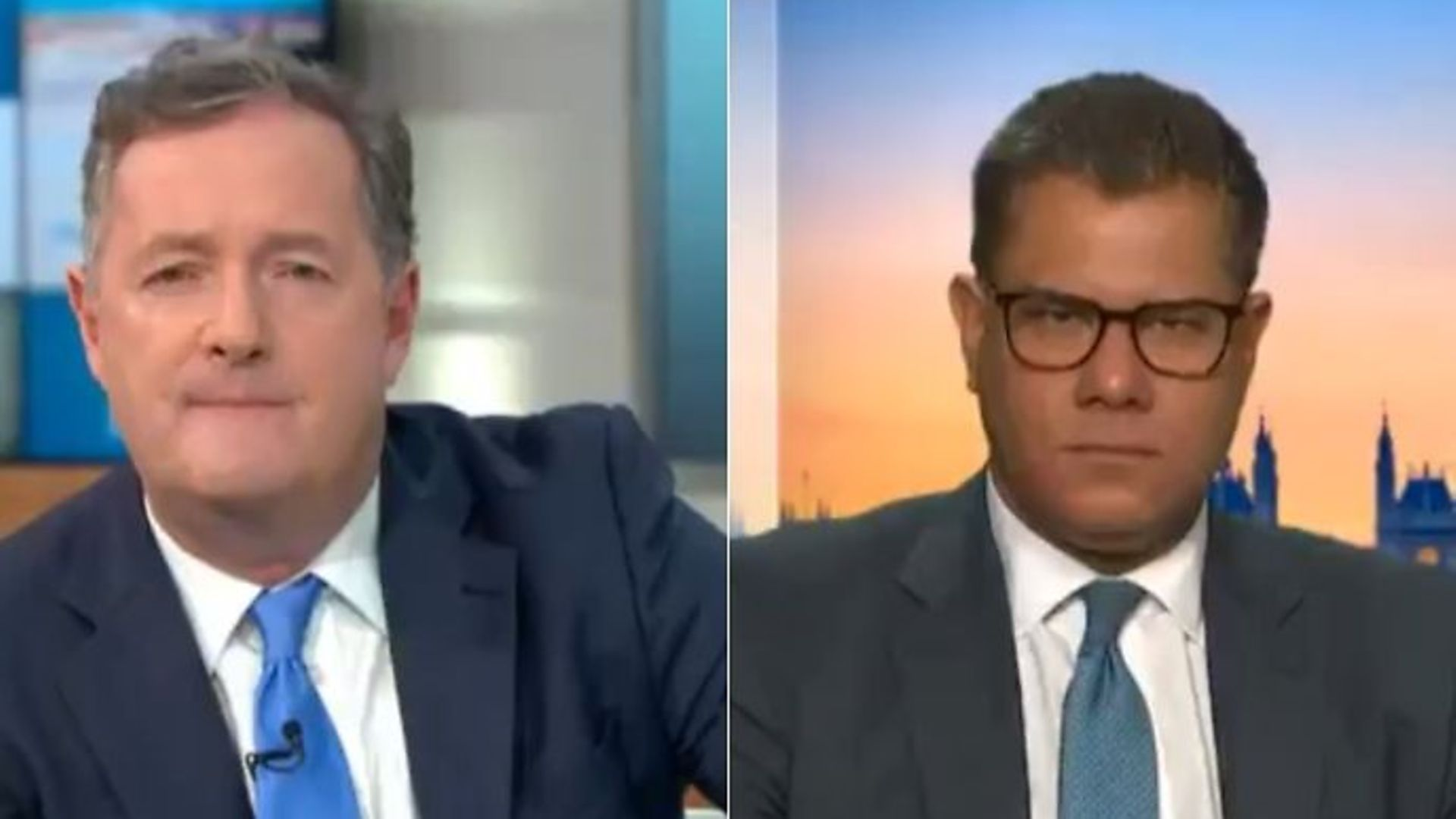 Piers Morgan (L) has clashed with the secretary of state for business, Alok Sharma, over the government's preparedness for a pandemic like Covid-19 - Credit: Twitter