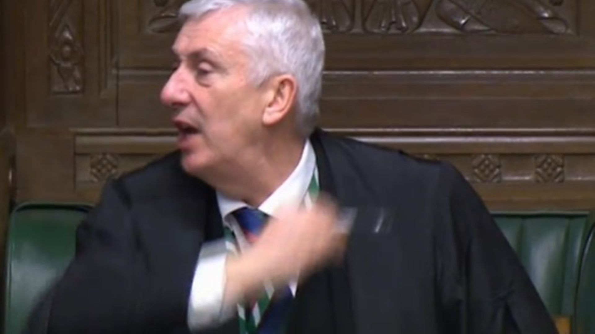 Lindsay Hoyle cuts off the prime minister's answer at PMQs - Credit: Parliament Live