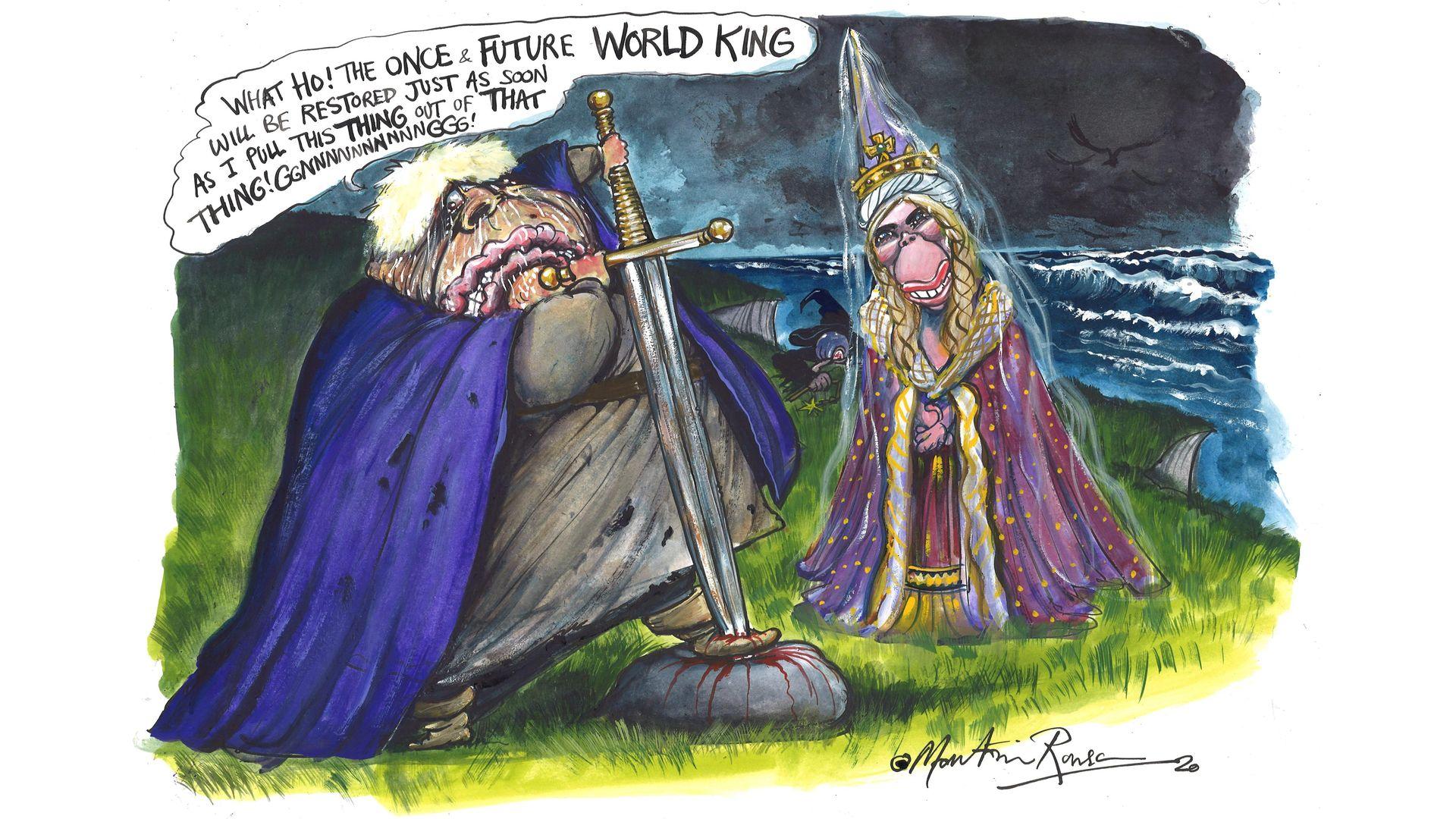 Wannabe World King Boris Johnson tries to seize the moment - Credit: Martin Rowson