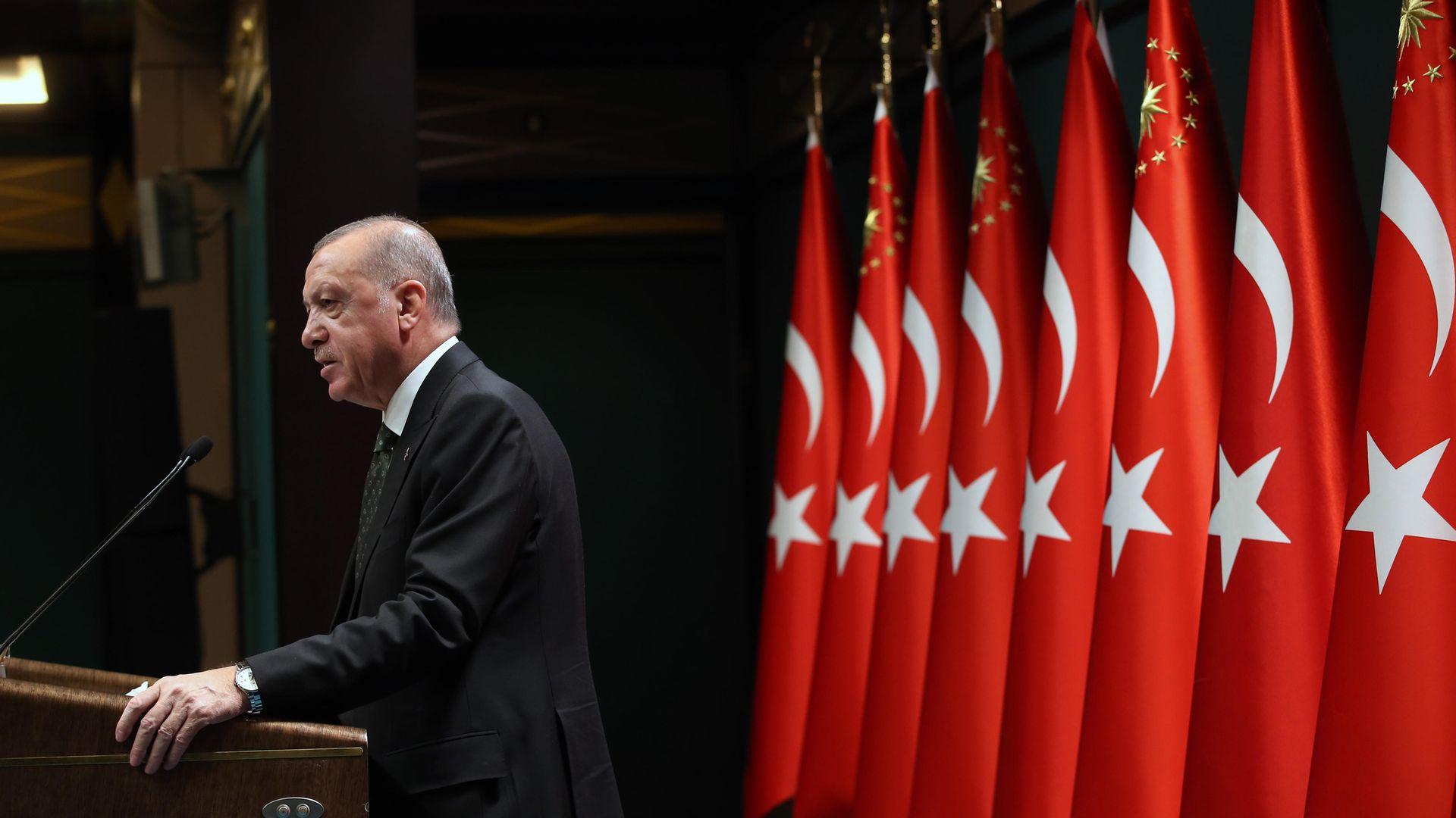 Turkish president Recep Tayyip Erdogan delivers a speech in Ankara in November 2020 - Credit: Anadolu Agency via Getty Images