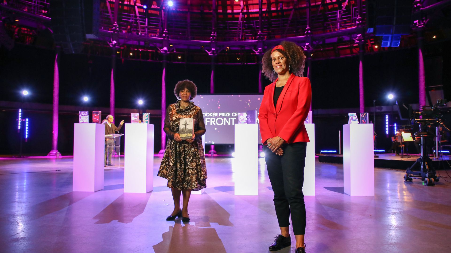 Bernardine Evaristo (right), and Margaret Busby at the 2020 Booker Prize ceremony, at the Roundhouse in London - Credit: David Parry/PA Wire
