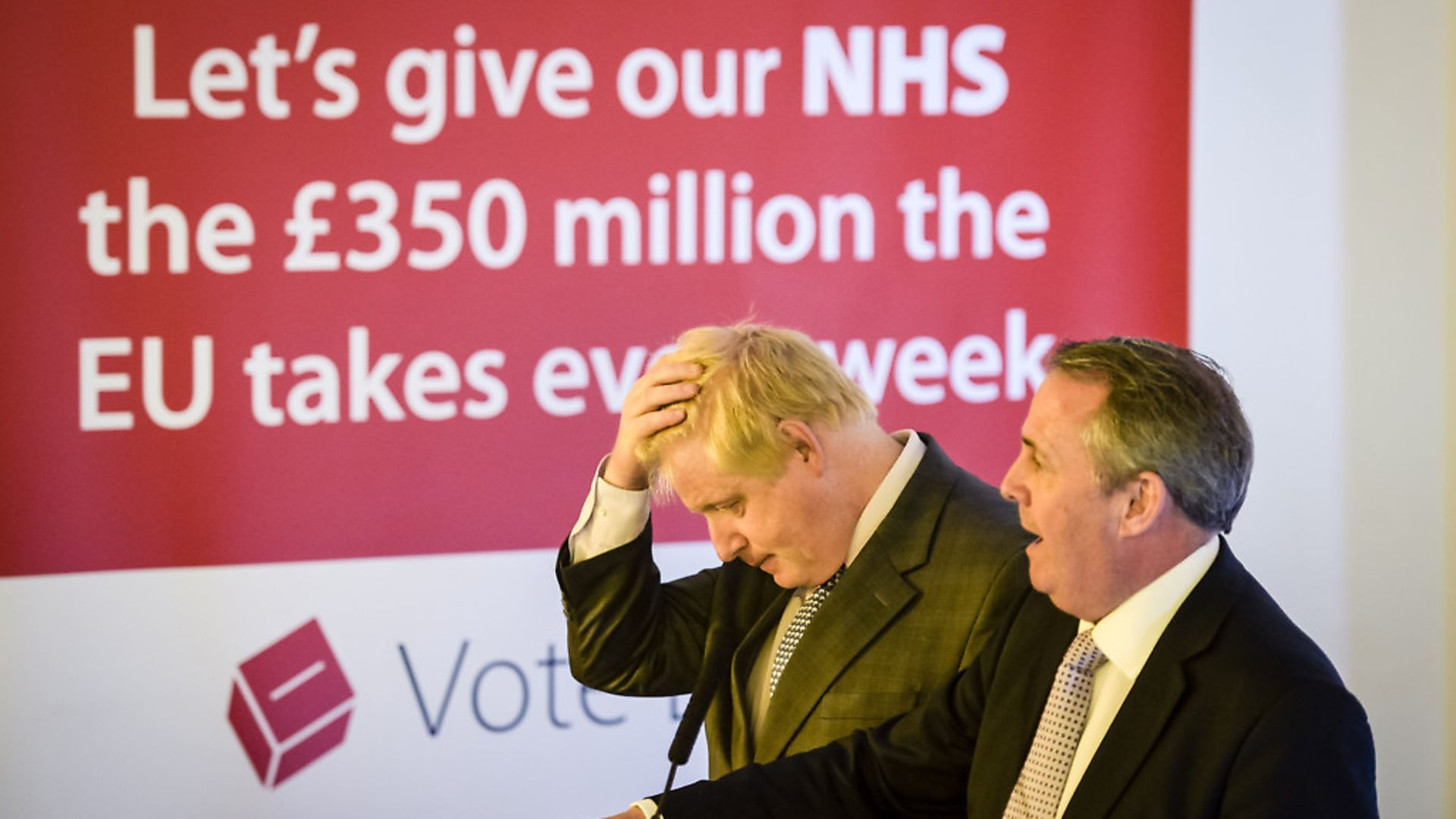 Boris Johnson (left) outlines a vision for Brexit watched by former Defence Secretary Dr Liam Fox. Photograph: Ben Birchall/PA. - Credit: PA Archive/PA Images