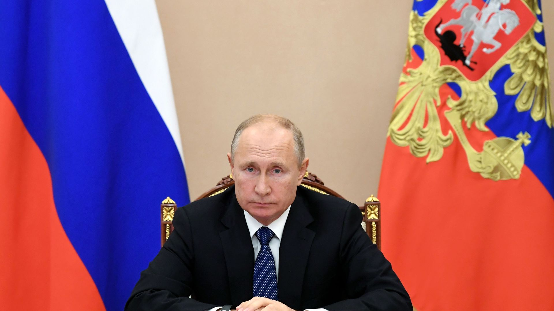 Vladimir Putin holds a video conference meeting with permanent members of the Russian Security Council at the Kremlin - Credit: Alexei Nikolsky/Russian Presiden