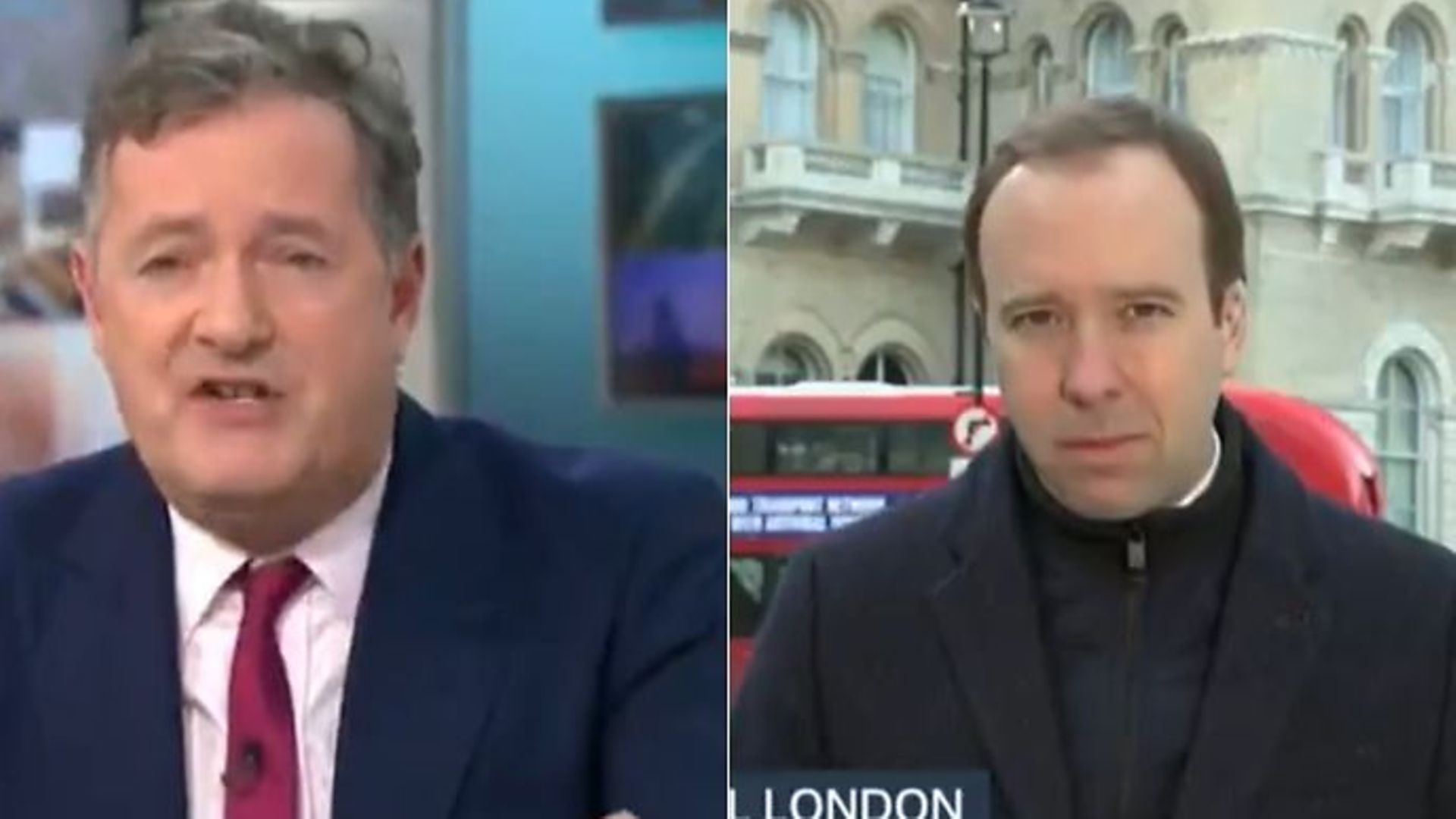 GMB presenter Piers Morgan (L) and health secretary Matt Hancock - Credit: Twitter